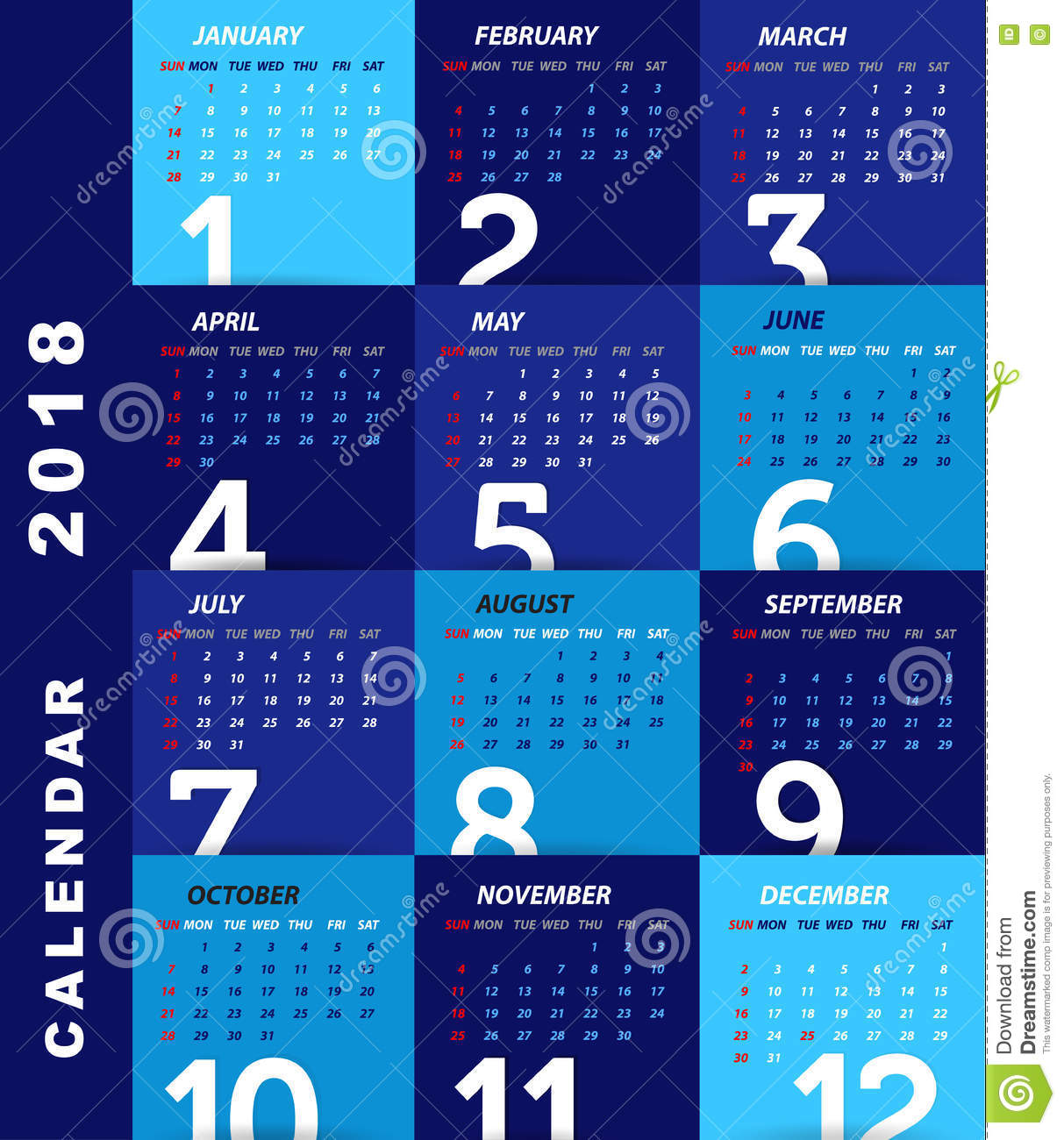 2018 Calendar Template,modern Design  Calendar Sample Design
