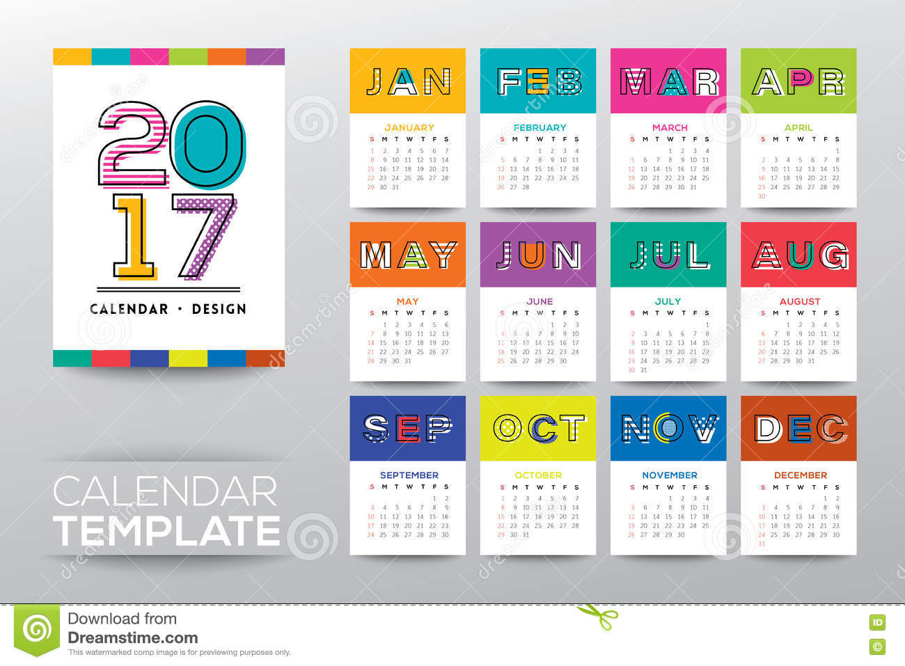 Weekly Calendar Vector : Calendar template with modern line graphic style