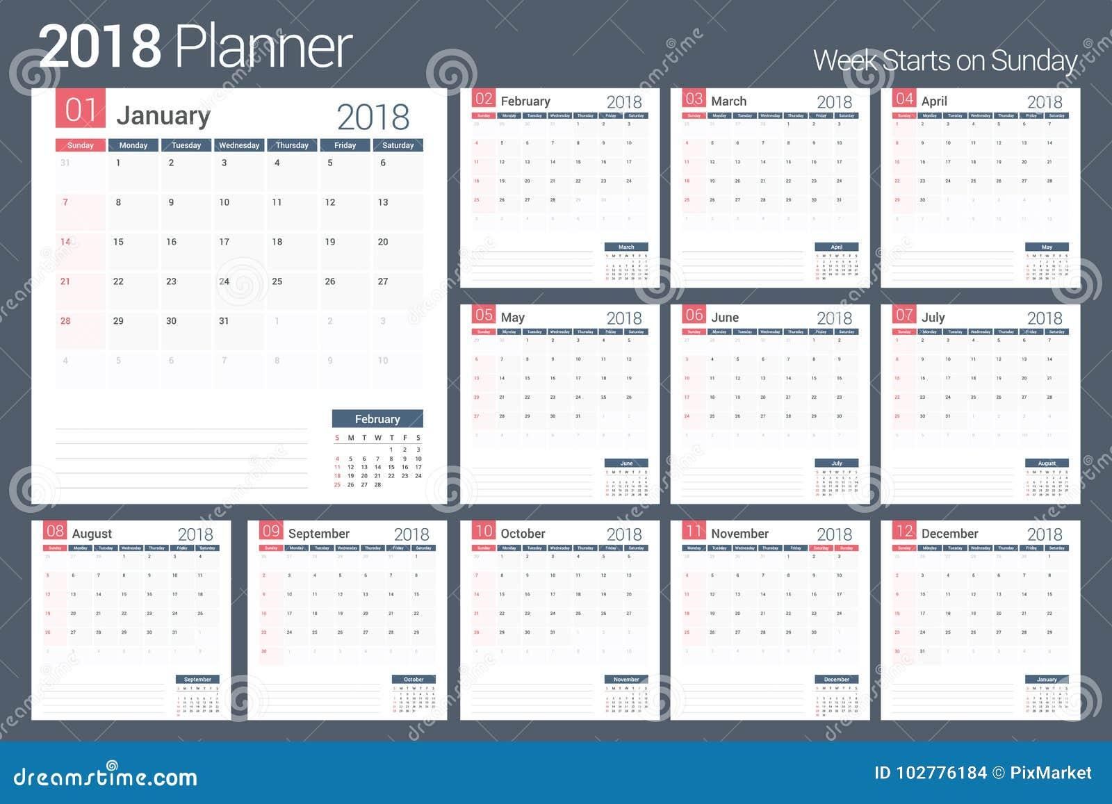 royalty free vector 2018 calendar