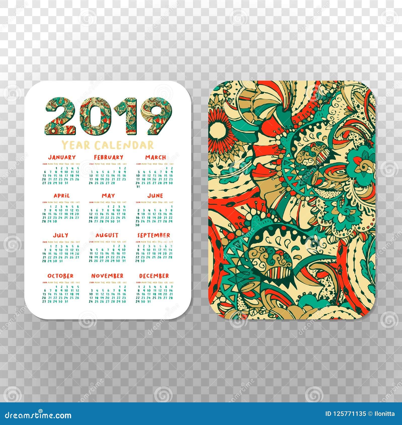 2019 Calendar Template For Pocket Calendar Basic Grid Stock Vector