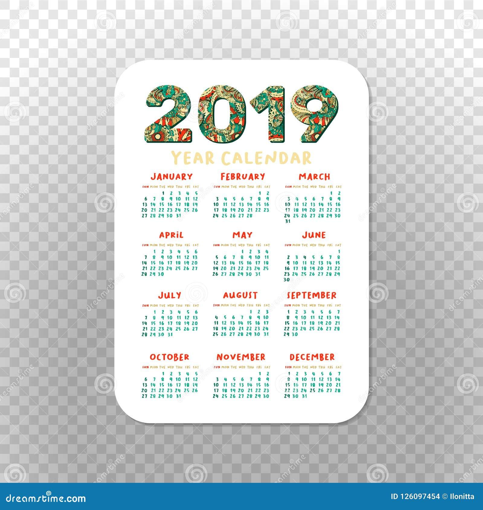 Christmas Calendar 2019 Printable 2019 Calendar Template For Pocket Calendar, Basic Grid. Stock