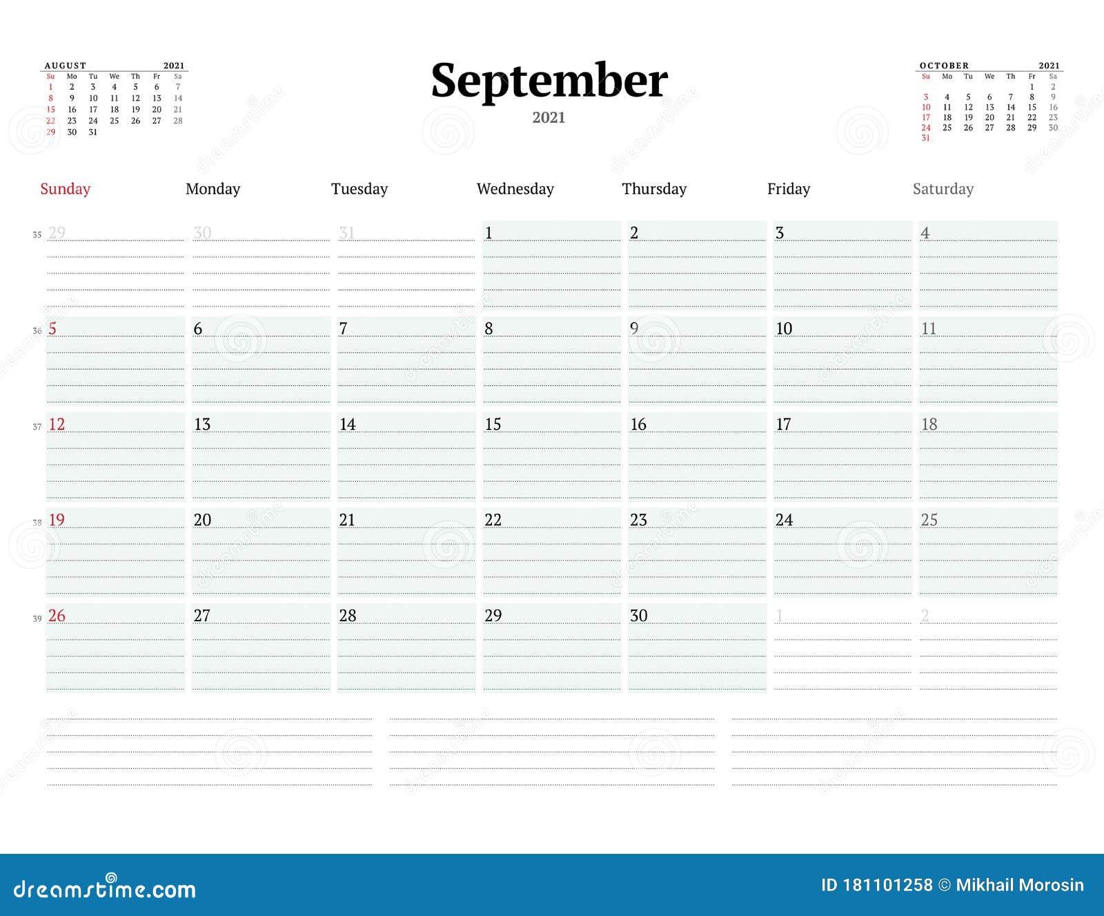 Calendar Template For September 2021 Business Monthly Planner Stationery Design Week Starts On Sunday Stock Illustration Illustration Of Numbers Monday 181101258