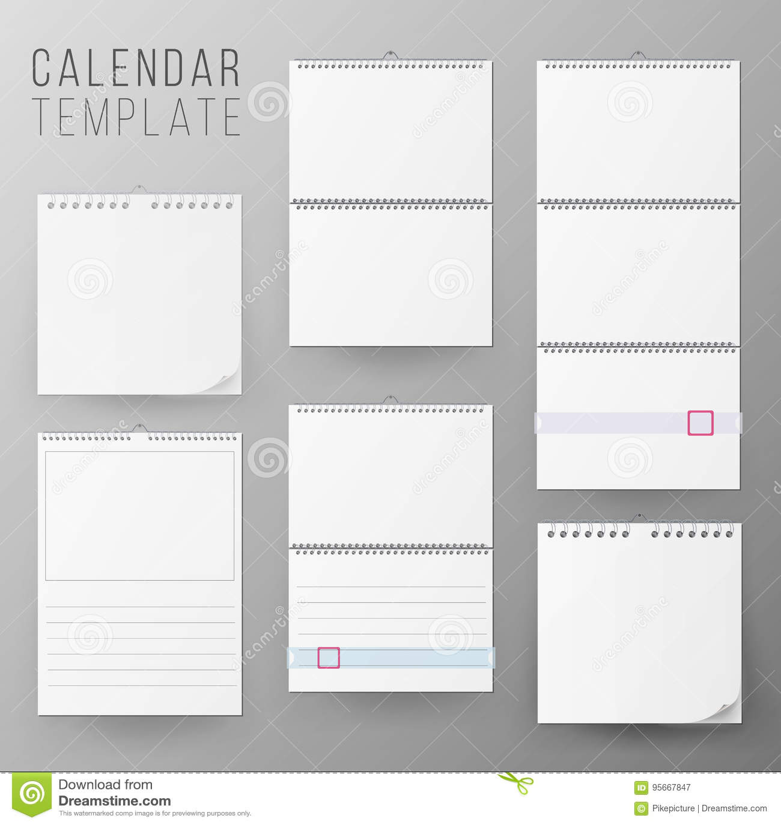 calendar template set vector realistic calendar blank hanging on a