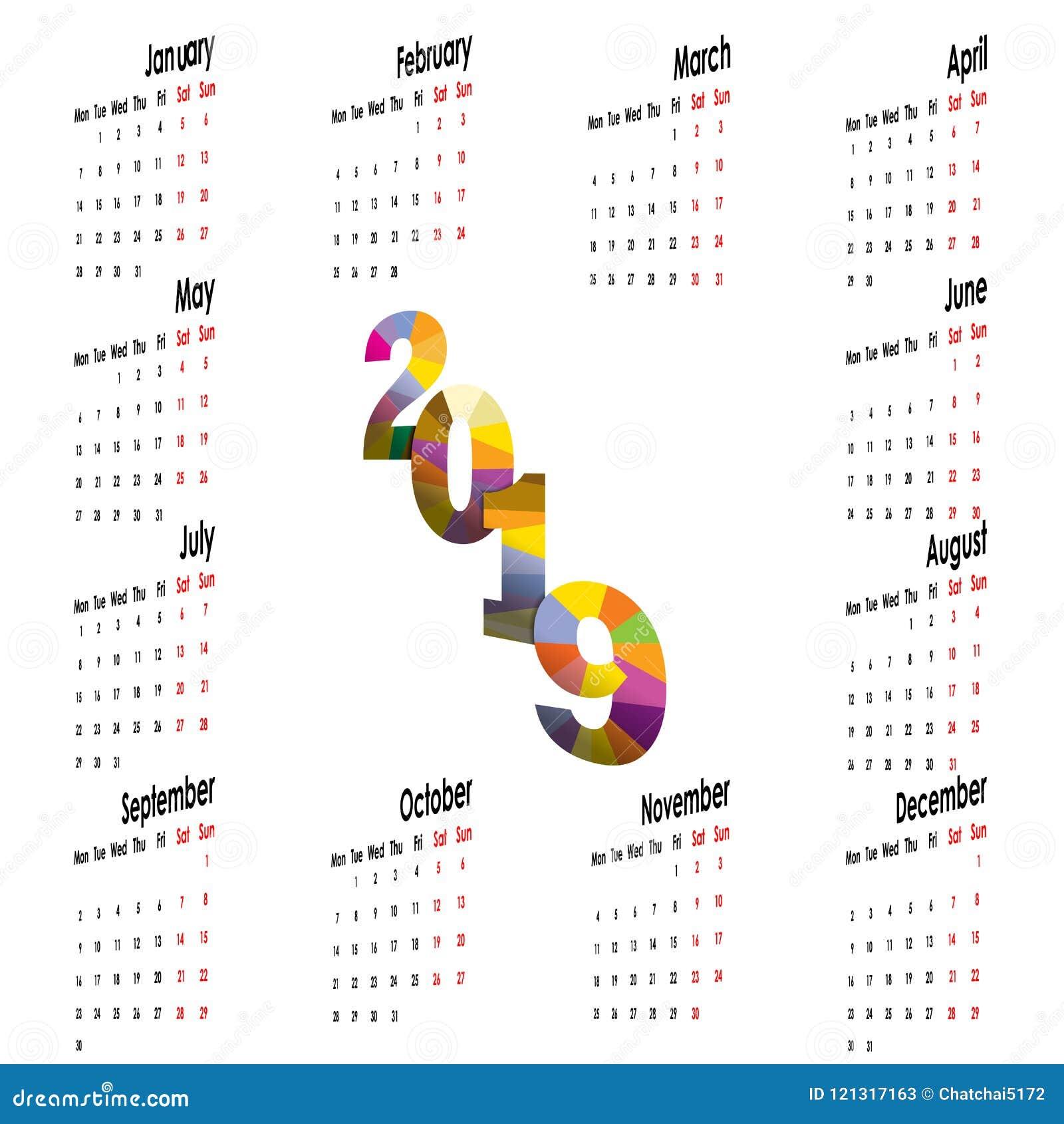 2019 Calendar Templatearts Mondayarly Calendar Vector Desi