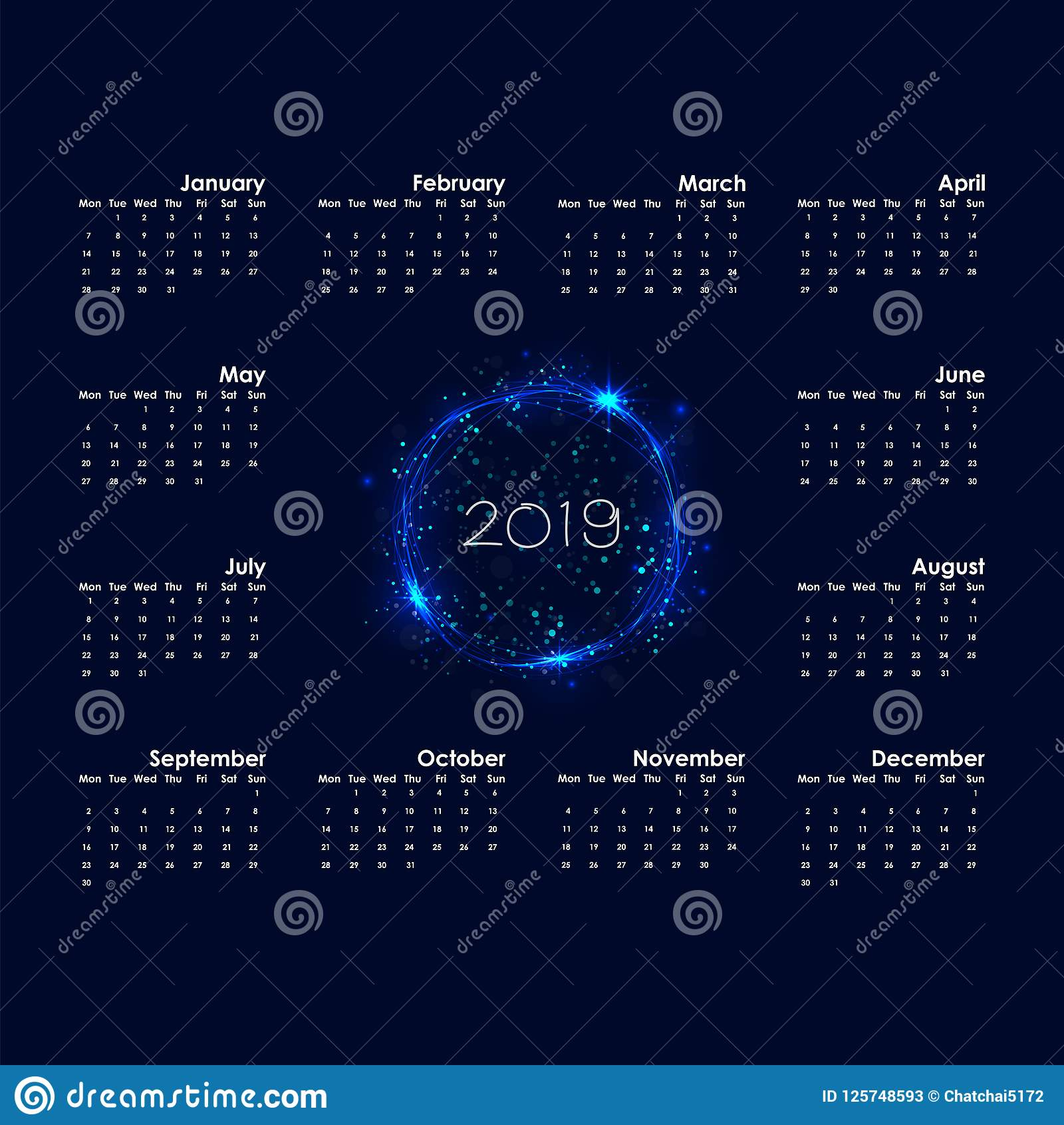 2019 calendar templatestarts mondayyearly calendar vector design stationery templatehappy new year 2019 backgroundabstract burning circles with glitter