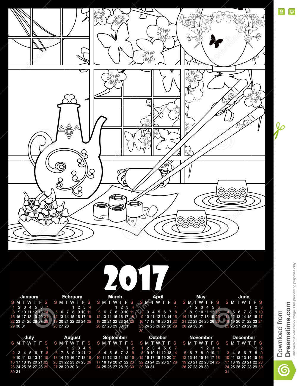 Calendar 2017 Template With Sushi And Flowers Coloring Page Stock