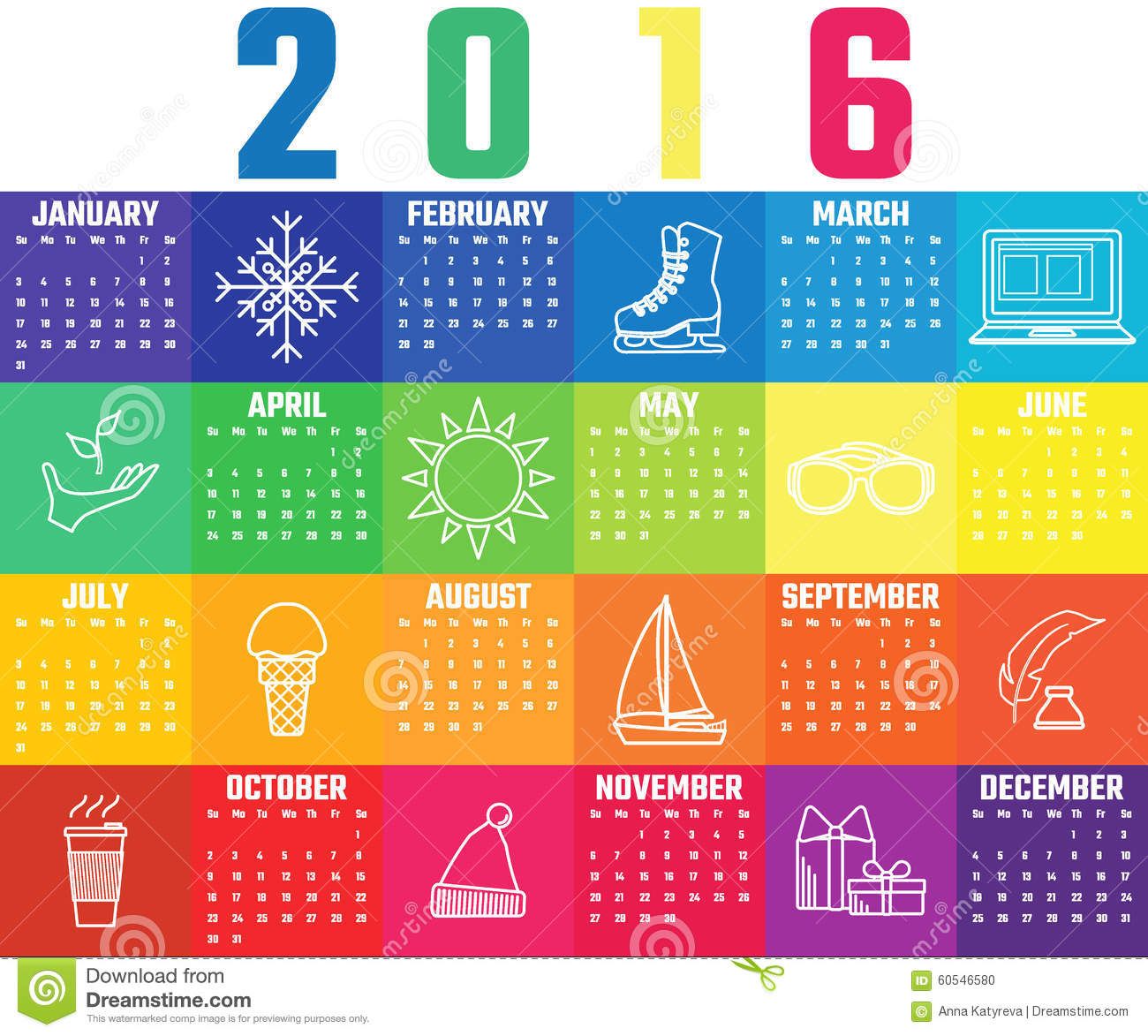 Illustration Calendar Design : Calendar template stock illustration image