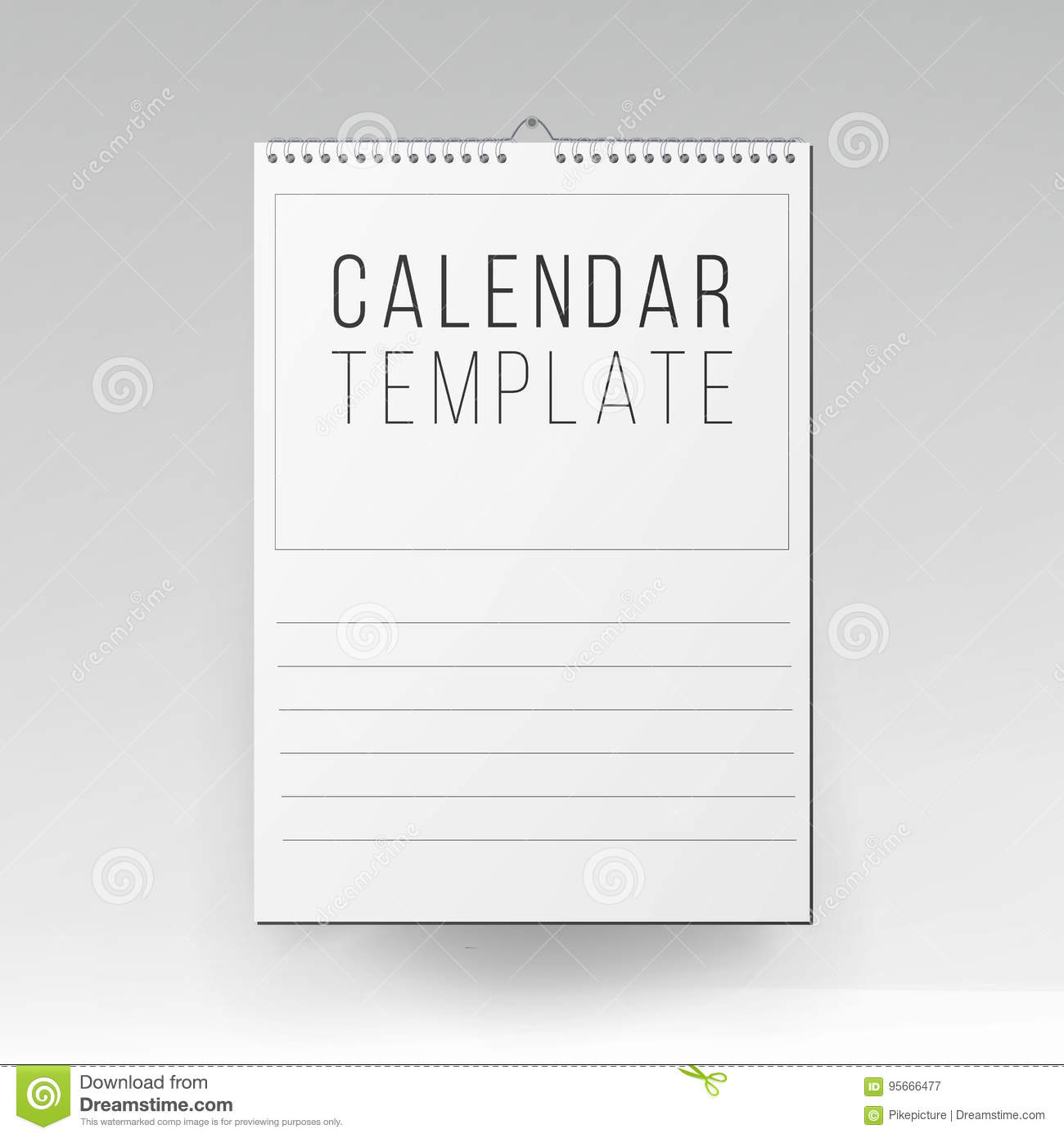 Calendar Template Vector Realistic Calendar Blank Hanging On A Wall