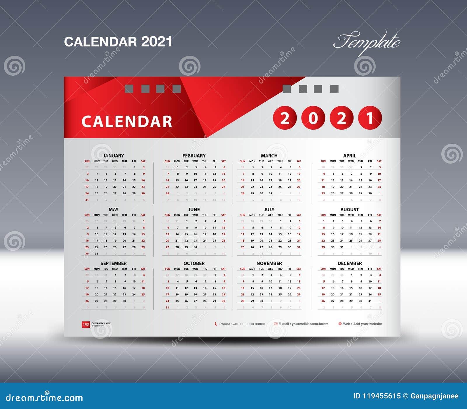 Calendar 2021 Template vector, Week starts Sunday, Stationery design, flyer design vector, printing media creative idea design