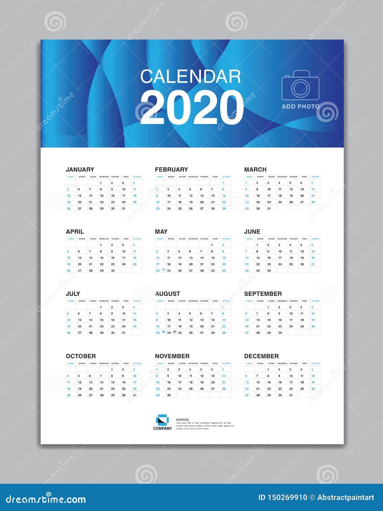calendar 2020 template  wall calendar 2020 vector  desk