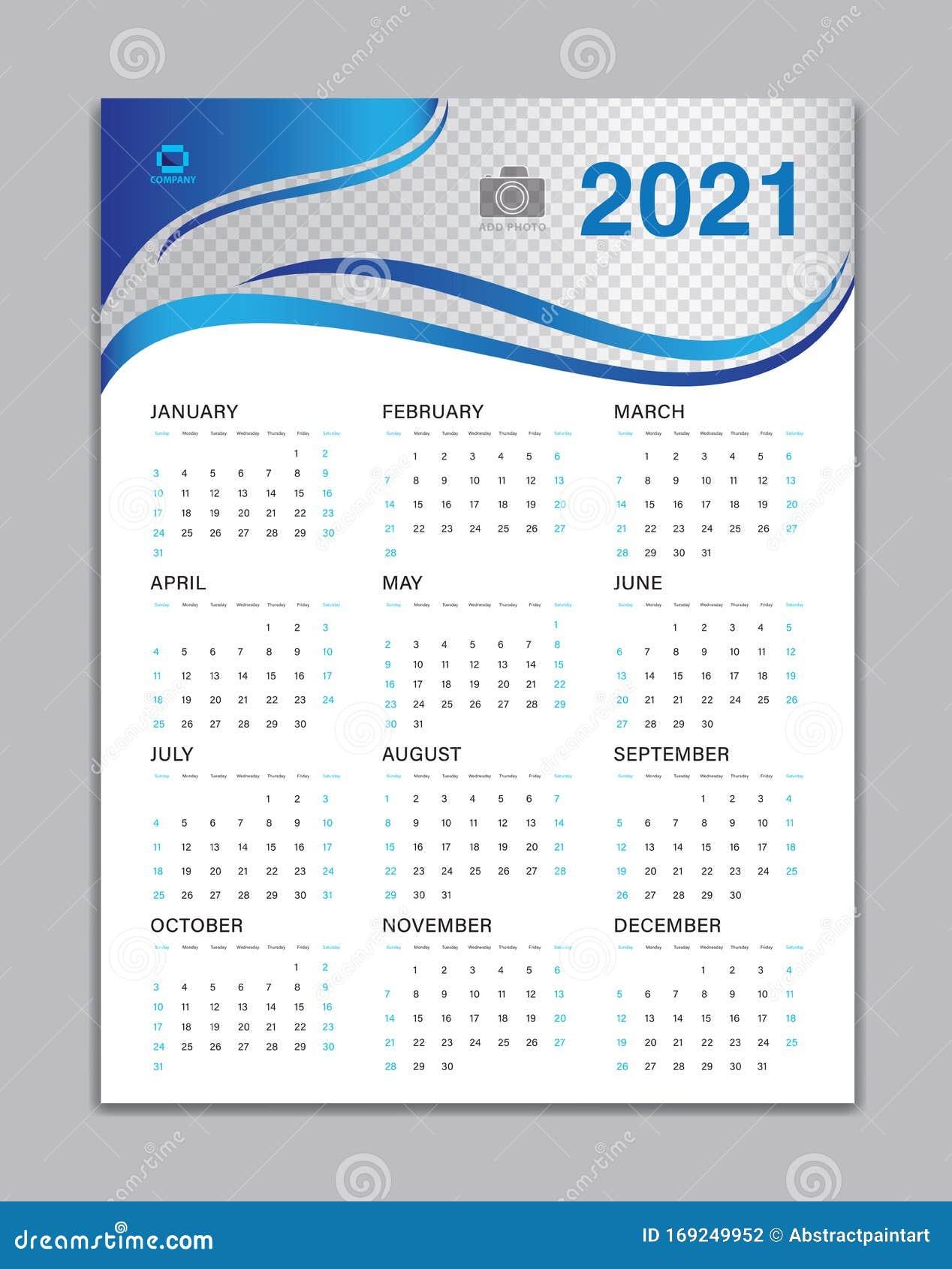 Calendar 2021 Template, Wall Calendar 2021 Vector, Desk ...