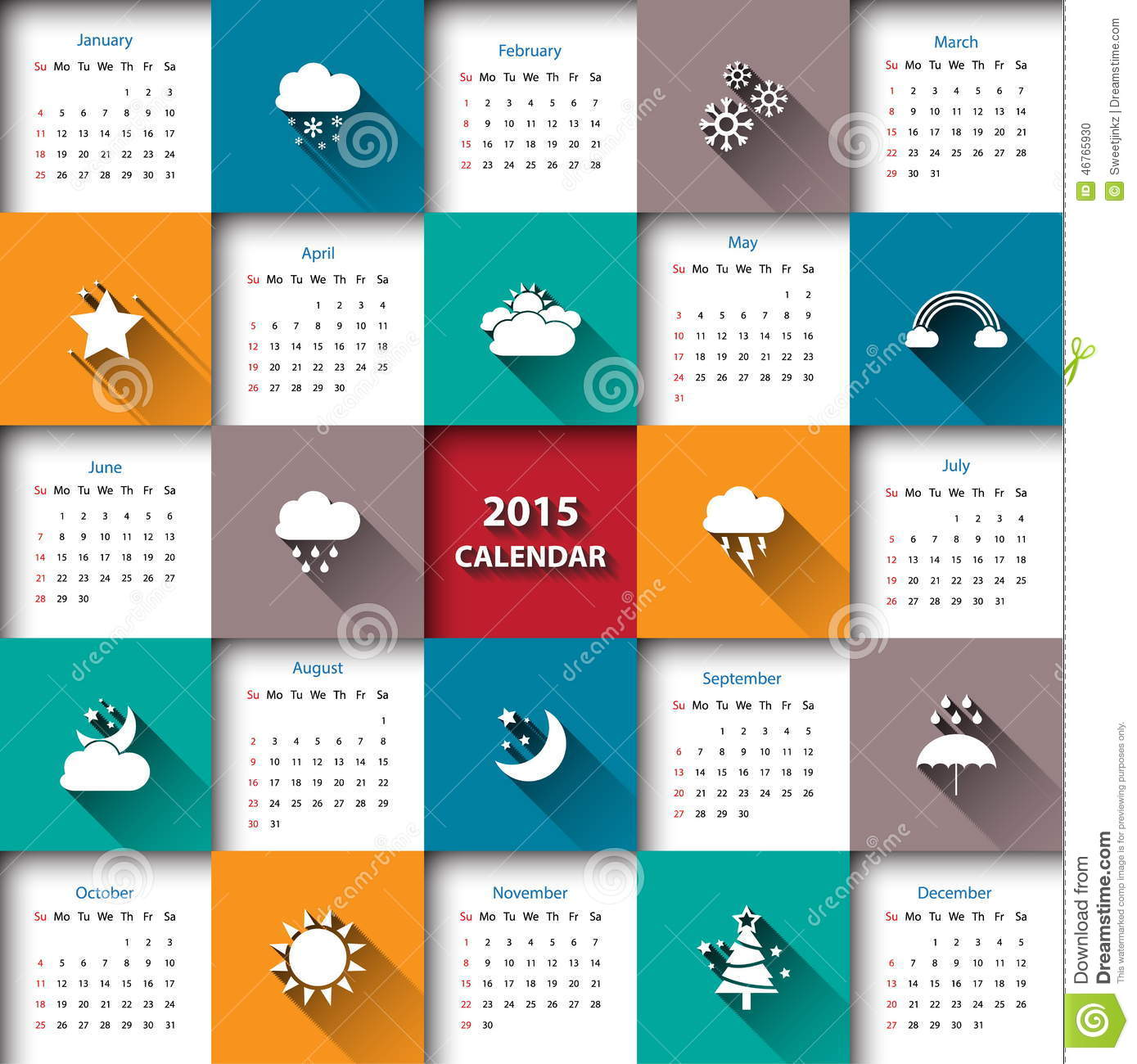 2015 Calendar Template With Weather Icon.Vector/illustration. Stock ...