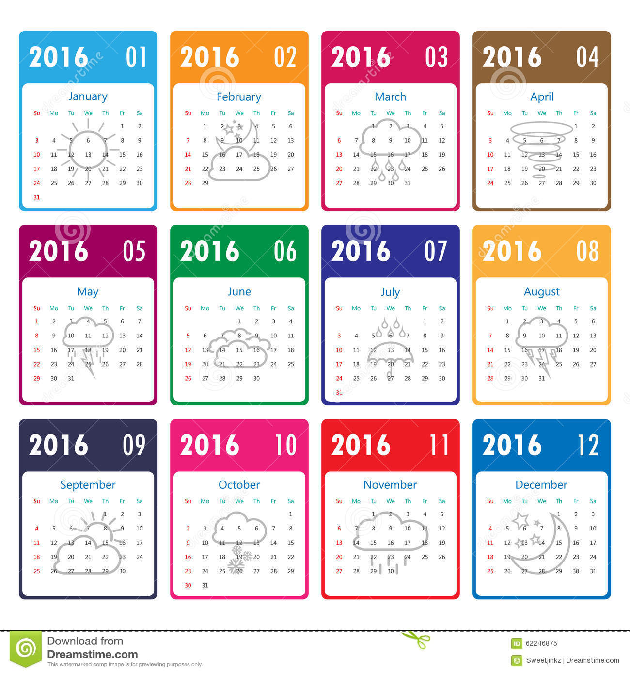 2016 Calendar Template With Weather Icon.Vector/illustration.201 Stock ...