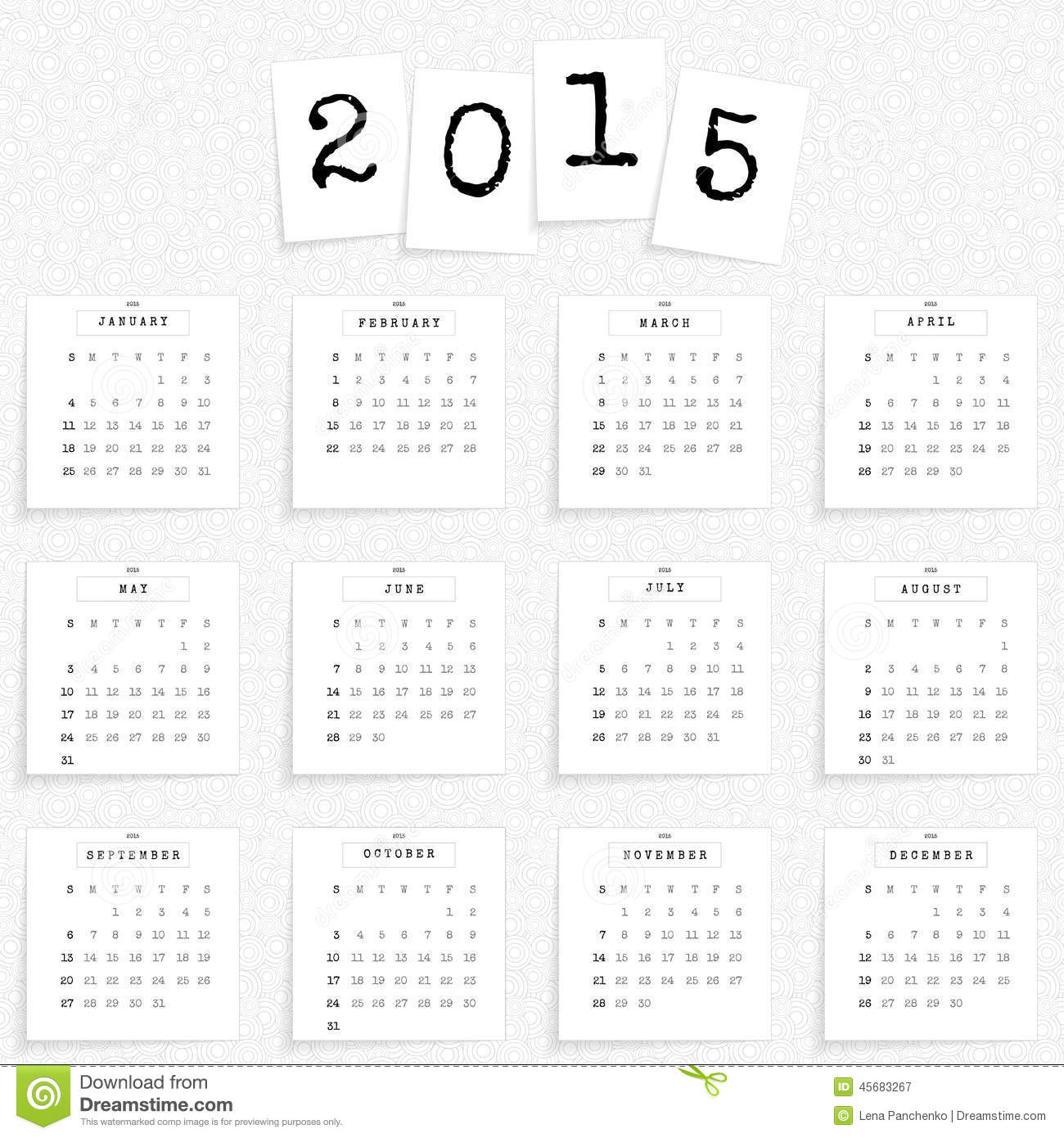 calendar 2015 template stock vector  illustration of