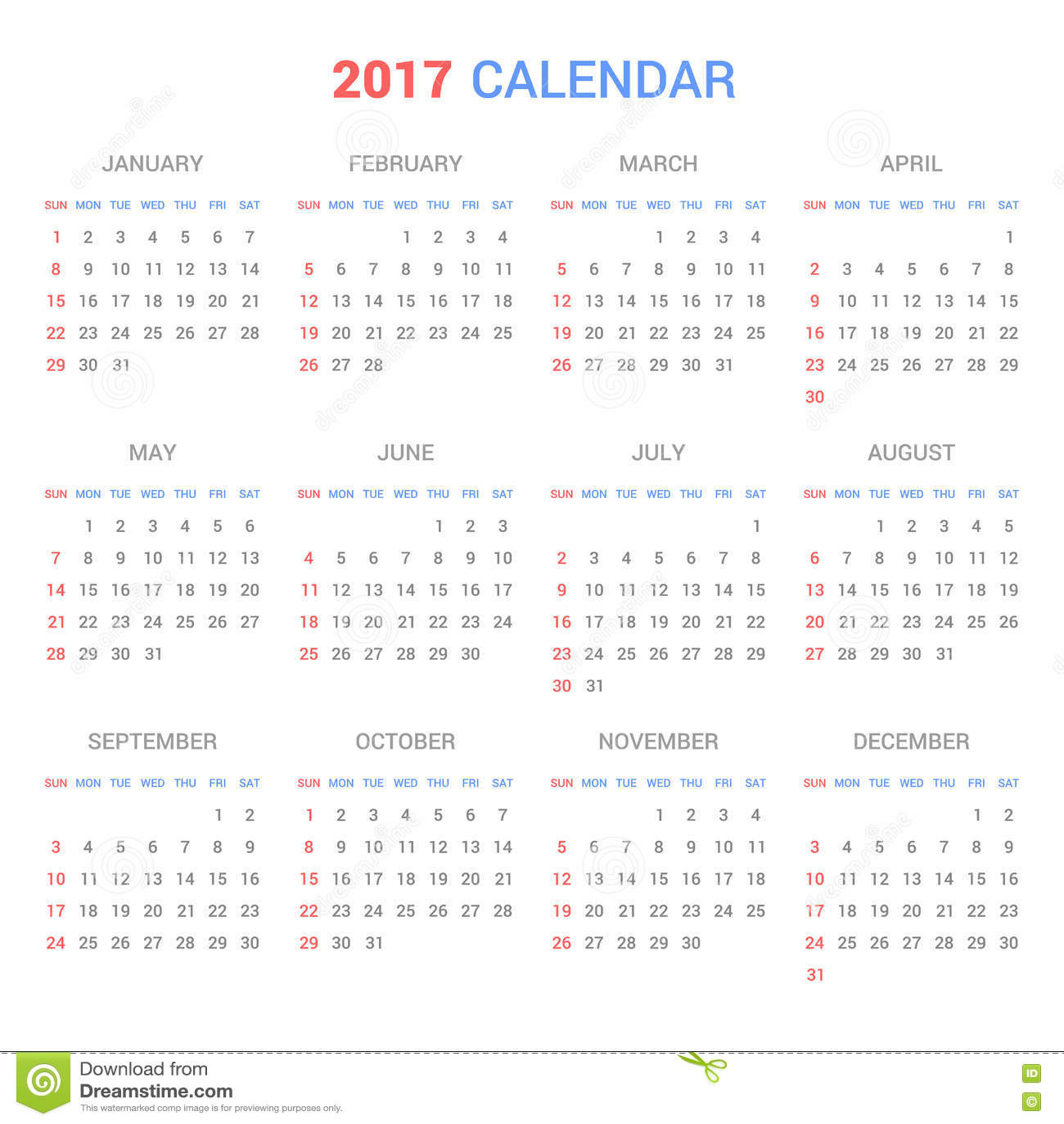 Calendar Background Vector : Calendar template for on white background vector