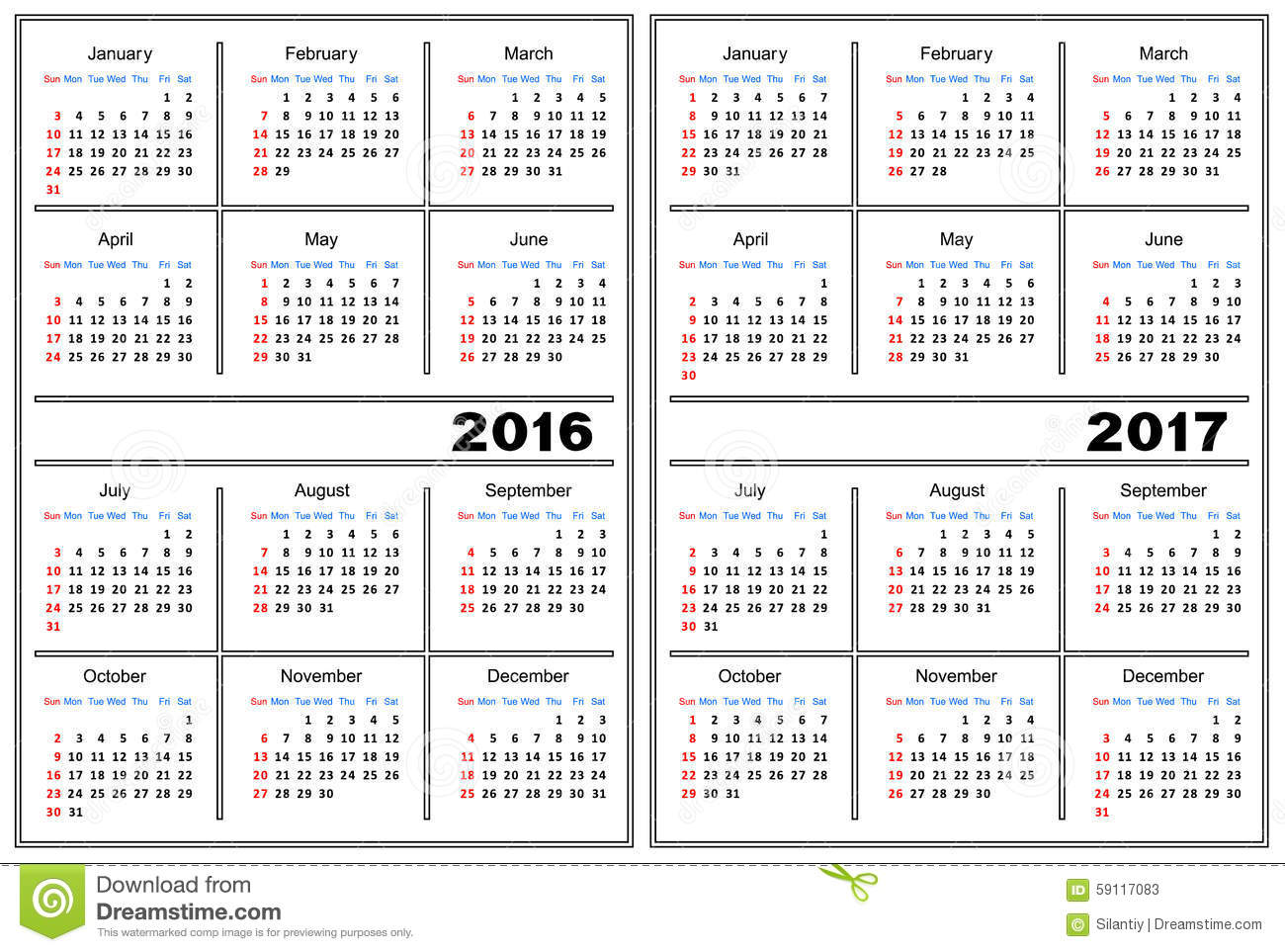 Template of a calendar of white color. A calendar for 2016 and 2017.