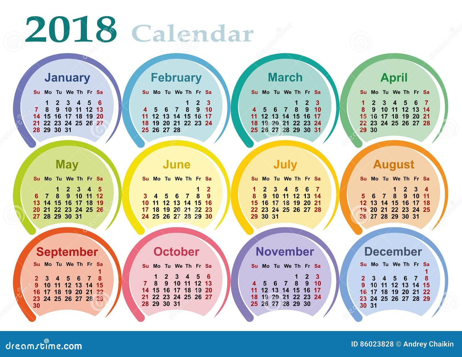 Calendar For 2018 Stock Vector Illustration Of Printed 86023828