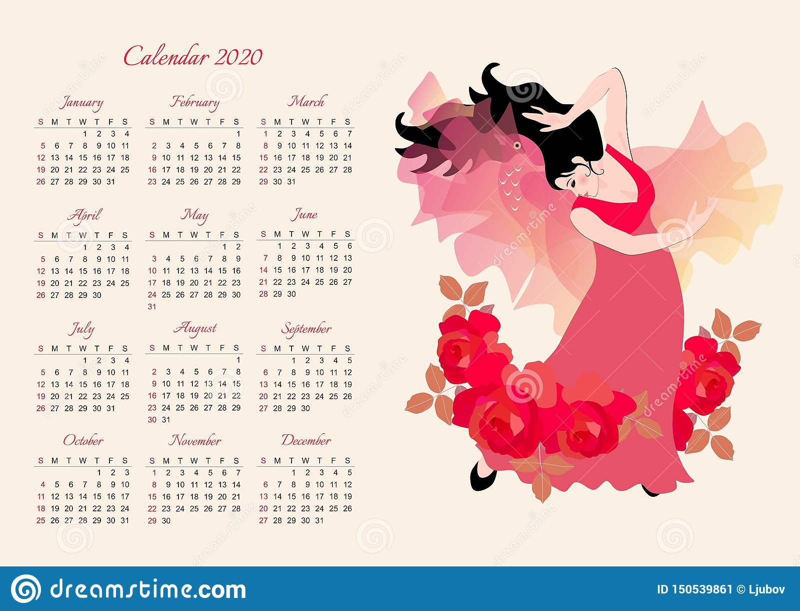 Decorated February Calendars 2020 Calendar Template For 2020 Year. Beautiful Girl In A Long Dress