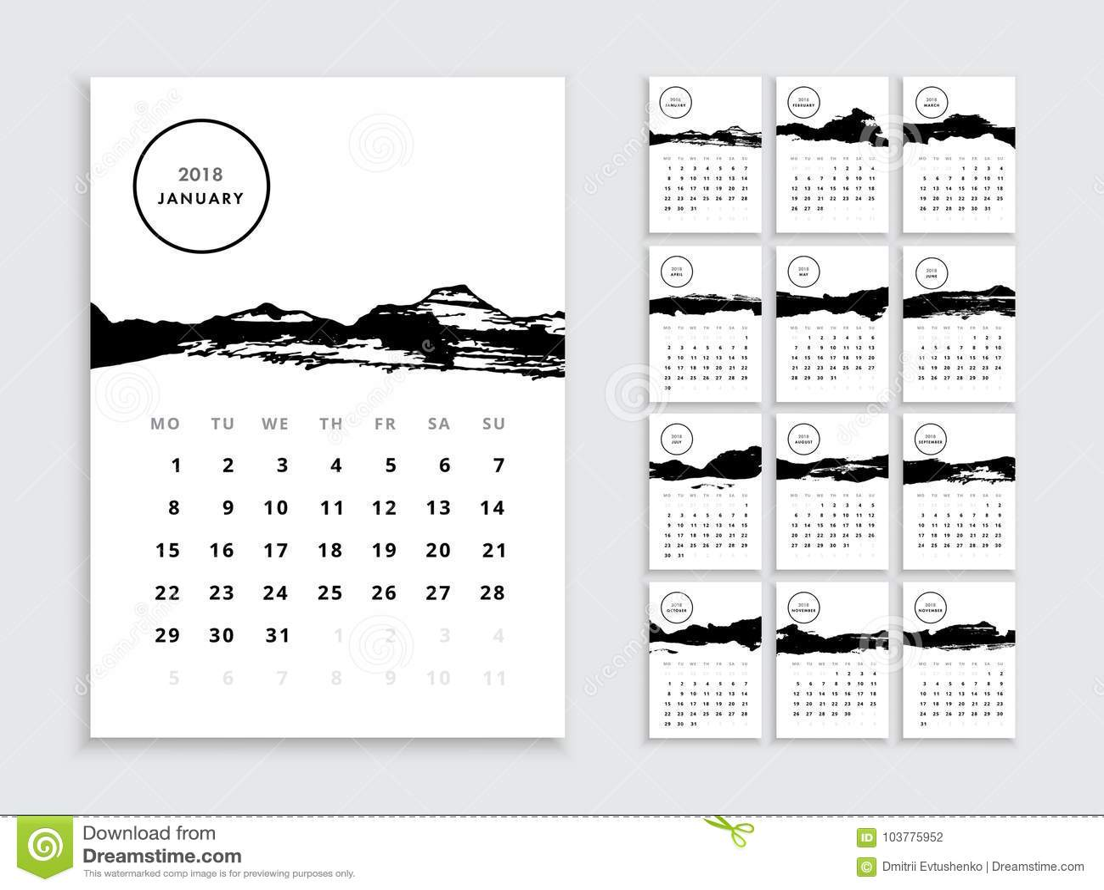 Calendar 2018 template stock vector illustration of monthly 103775952 download calendar 2018 template stock vector illustration of monthly 103775952 wajeb Images