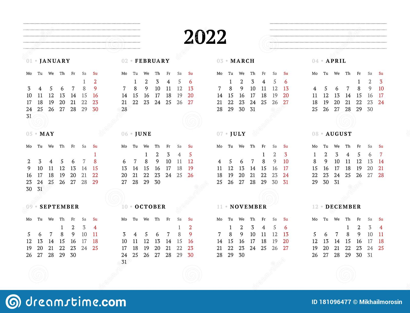 2022 Calendar Monday Start.Calendar Template For 2022 Year Stationery Design Week Starts On Monday Stock Illustration Illustration Of Landscape Paper 181096477