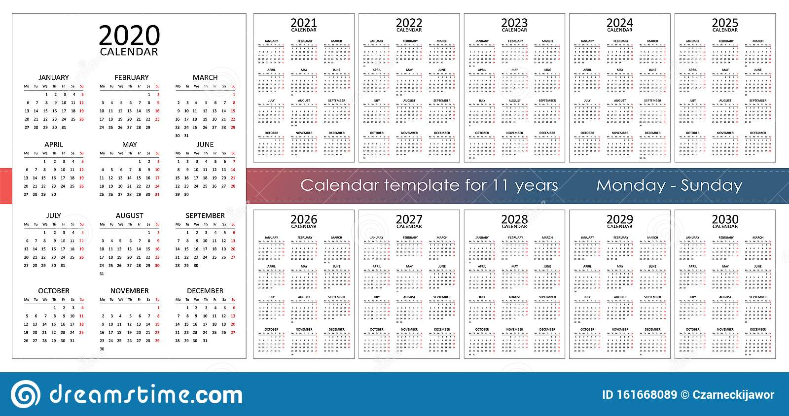 Big Calendar 2022.Calendar Template For 11 Years 12 Months On One Page Stock Vector Illustration Of Desk Graphic 161668089