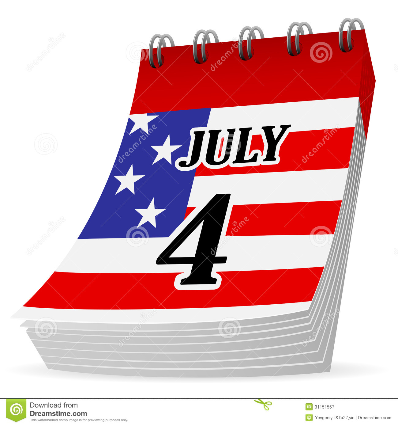 calendar 4th july royalty free stock photography image 31151567