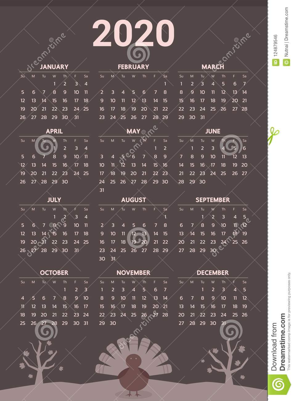 2020 Calendar Thanksgiving 2020 Calendar With Thanksgiving Theme   Vector Stock Vector