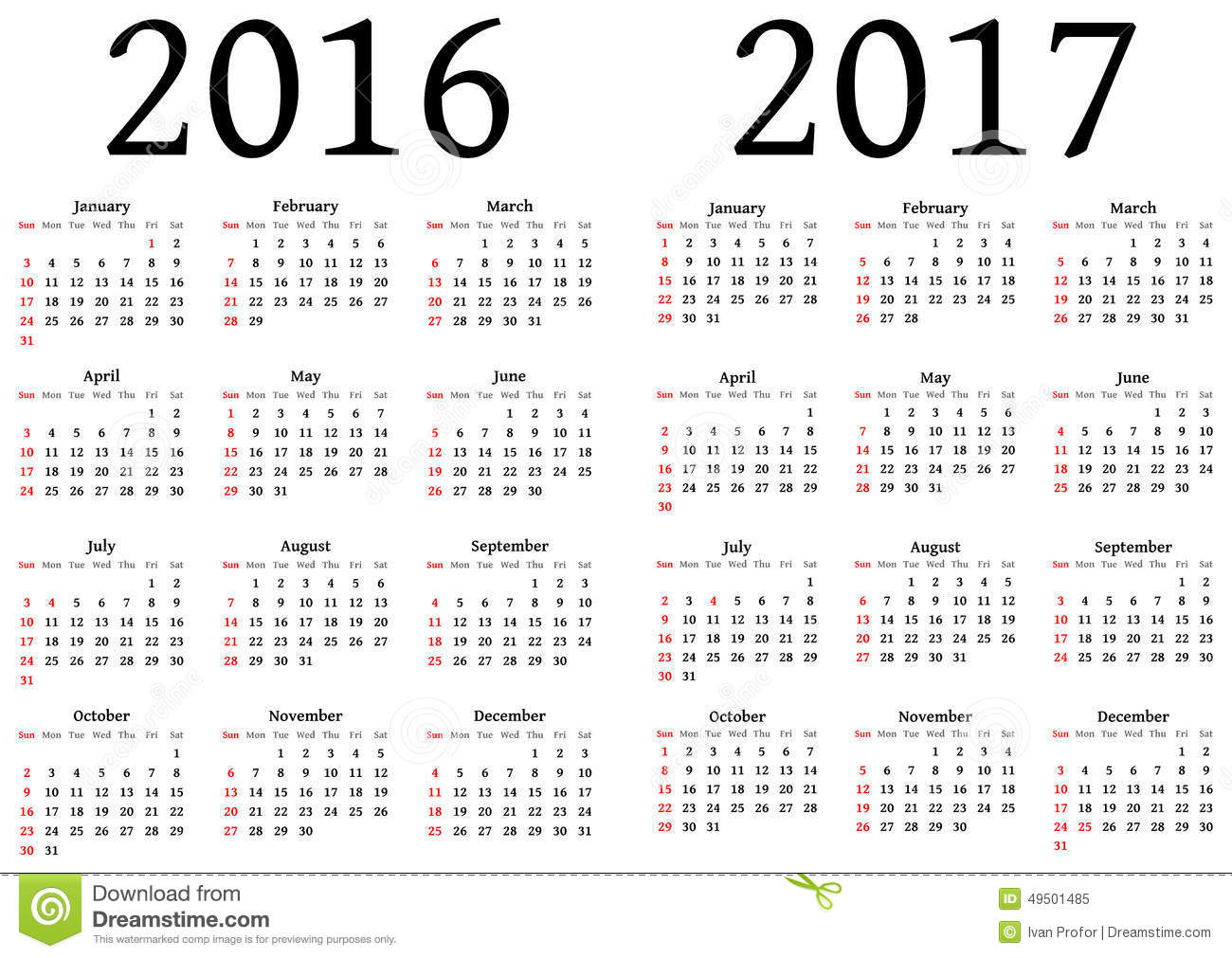 Calendar For 2016 And 2017 Stock Vector Illustration Of