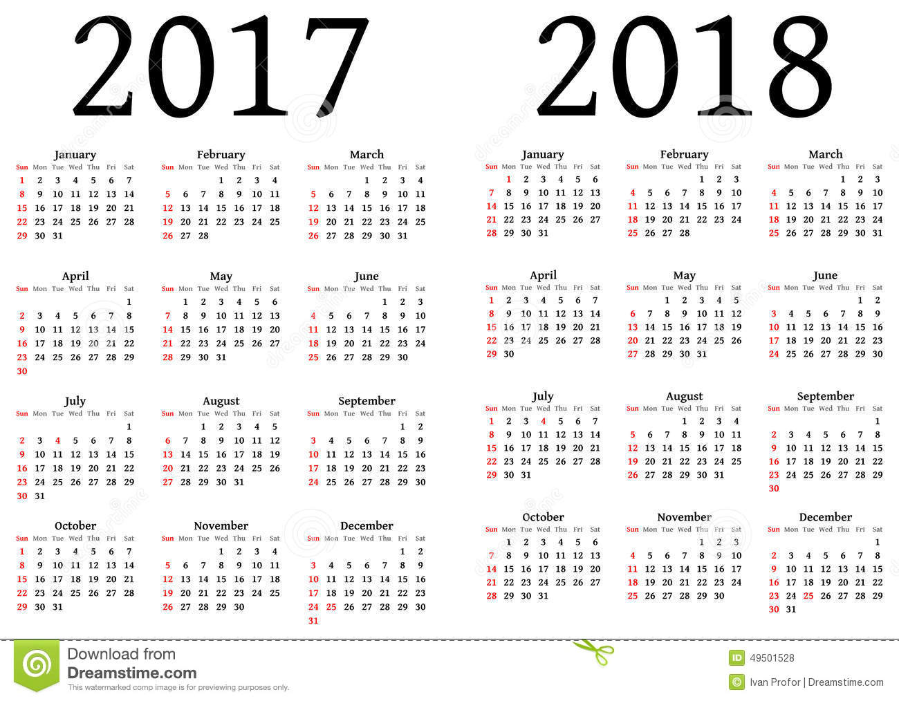 Calendar for 2017 and 2018. To be used by designers. An .EPS version ...