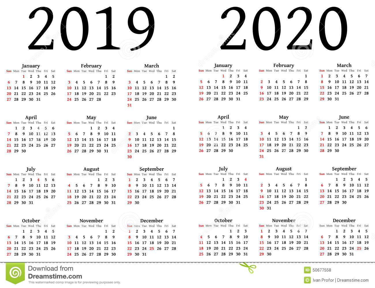 Calendar for 2019 and 2020. To be used by designers. An .EPS version ...