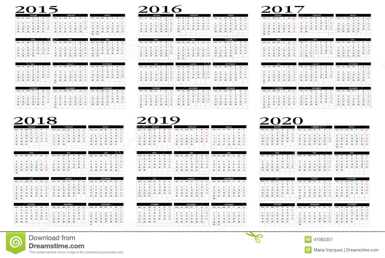 Calendar 2014 And 2020 Printable Calendar 2015 to 2020 stock vector. Illustration of march   41082357