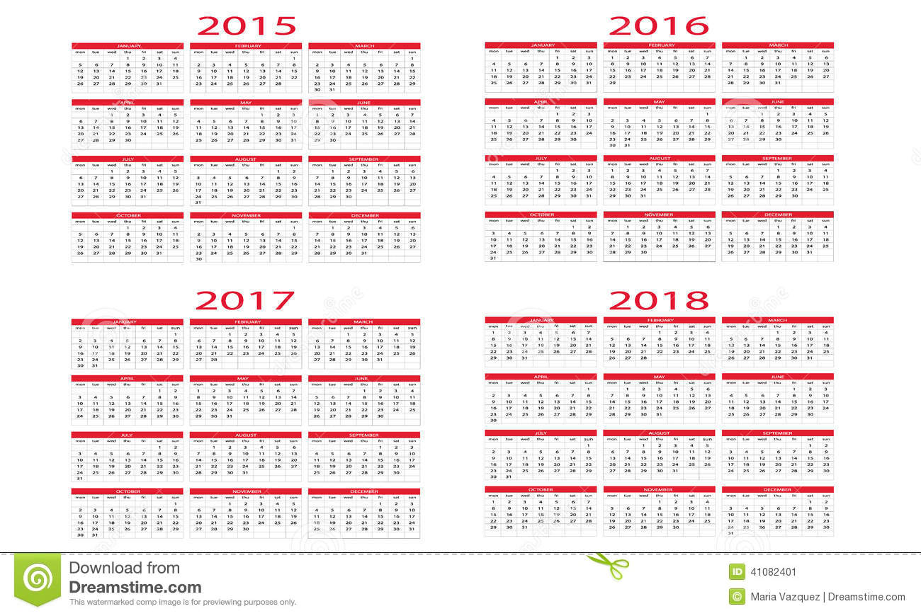 Calendar 2015 To 2018 Stock Vector Image Of Annual