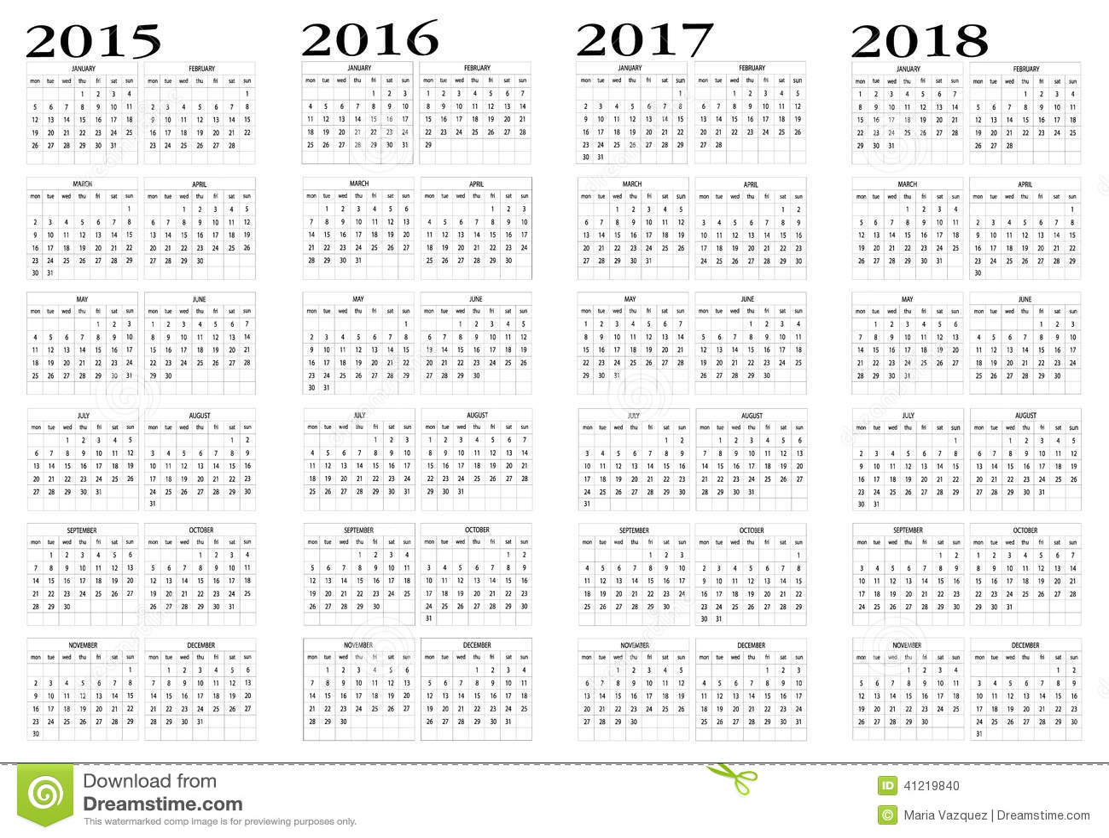 Calendar 2015 to 2018 stock vector. Illustration of begin   41219840