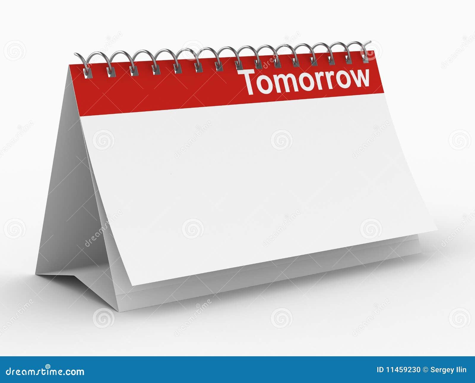 Calendar Notebook Design : Calendar for tomorrow on white background stock photo
