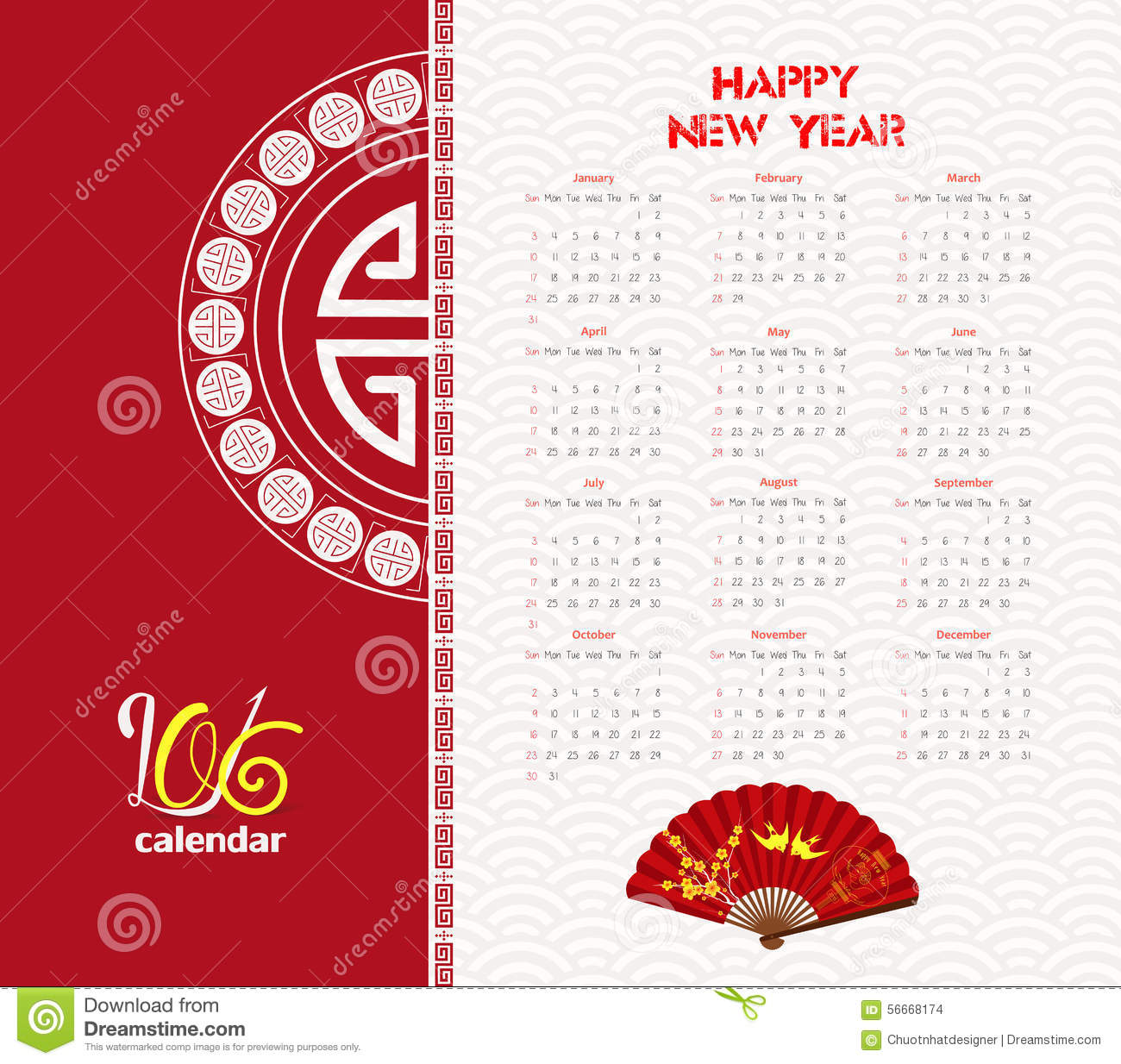 New Year Calendar Design : Calendar tree design for chinese new year celebration