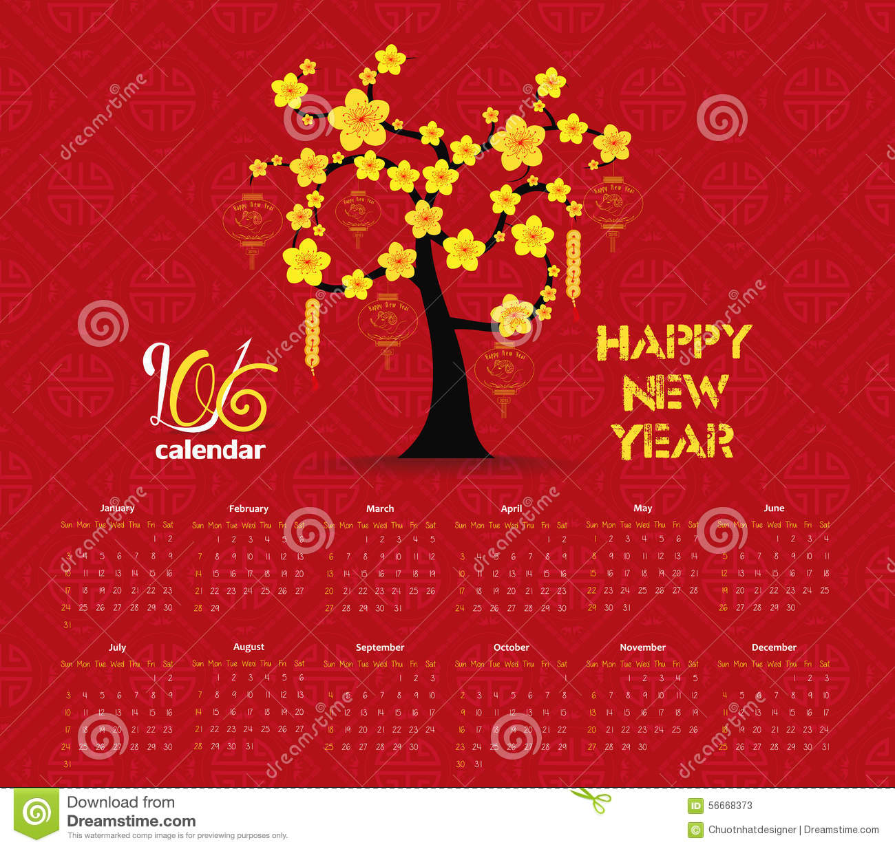 Japanese New Year Calendar : Calendar tree design for chinese new year celebration