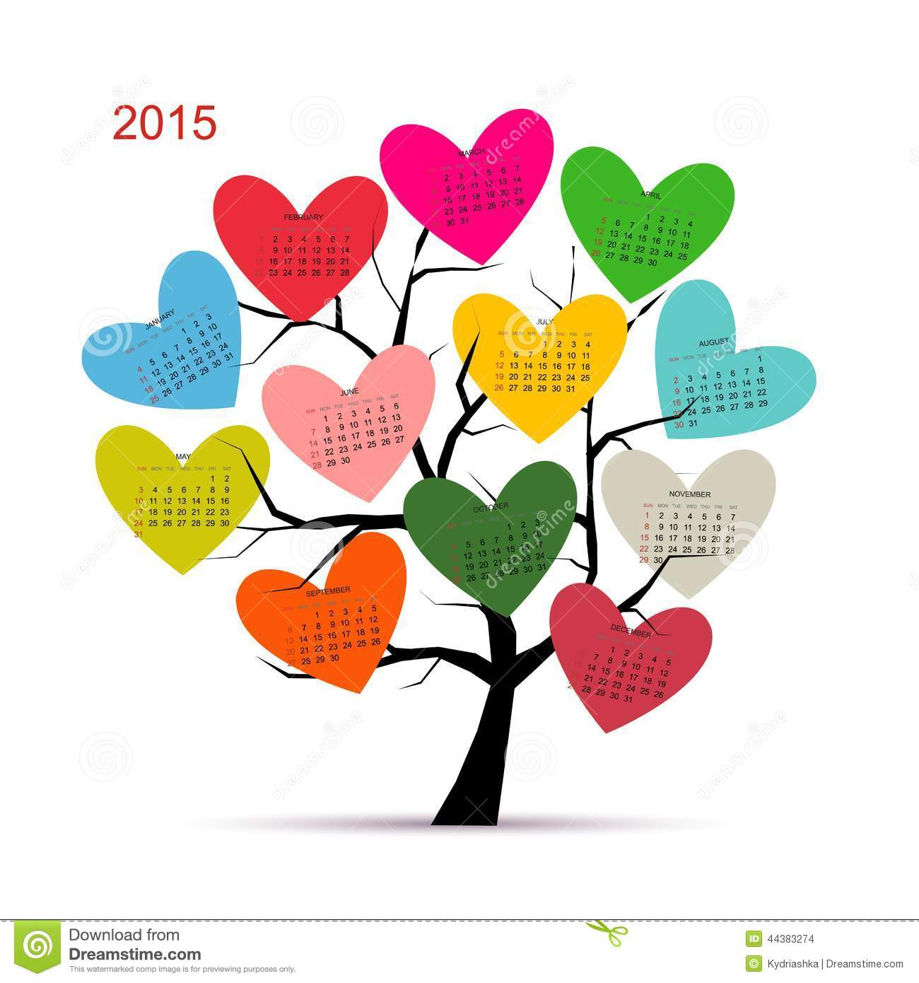 Calendar Tree 2015 For Your Design Stock Vector - Image ...