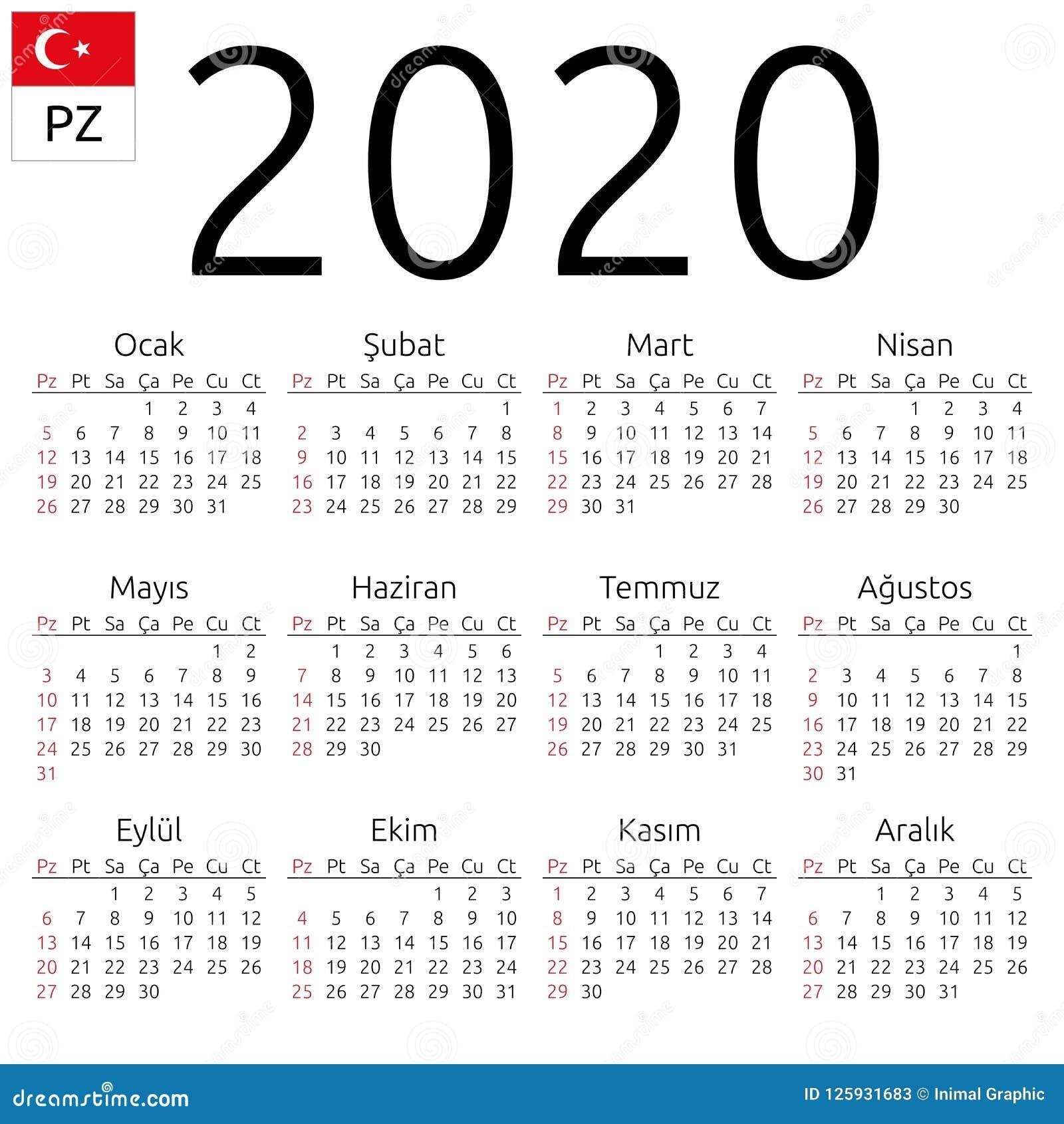 2020 Sunday Calendar Calendar 2020, Turkish, Sunday Stock Vector   Illustration of 2020