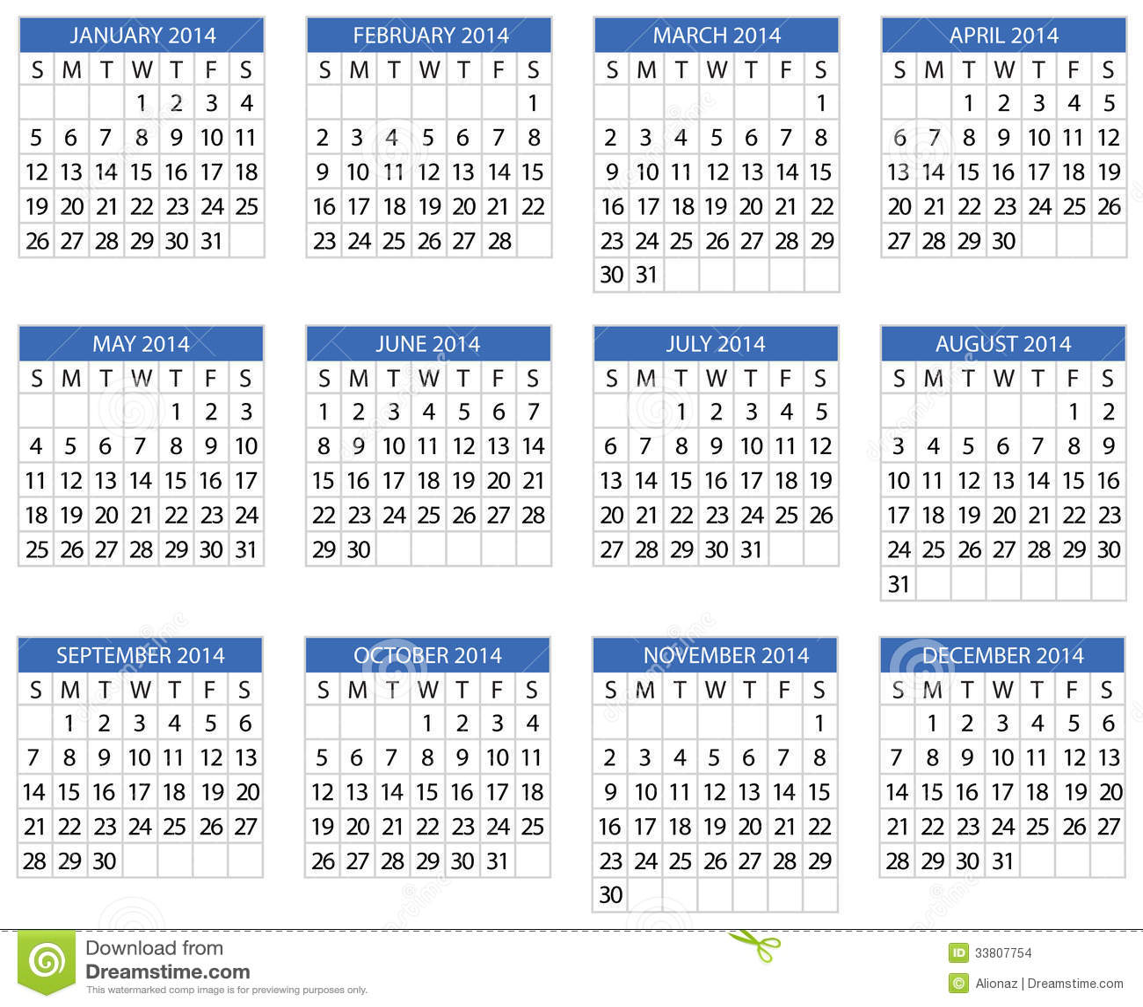 Calendar 2014 Stock Vector Illustration Of Diary Isolated 33807754