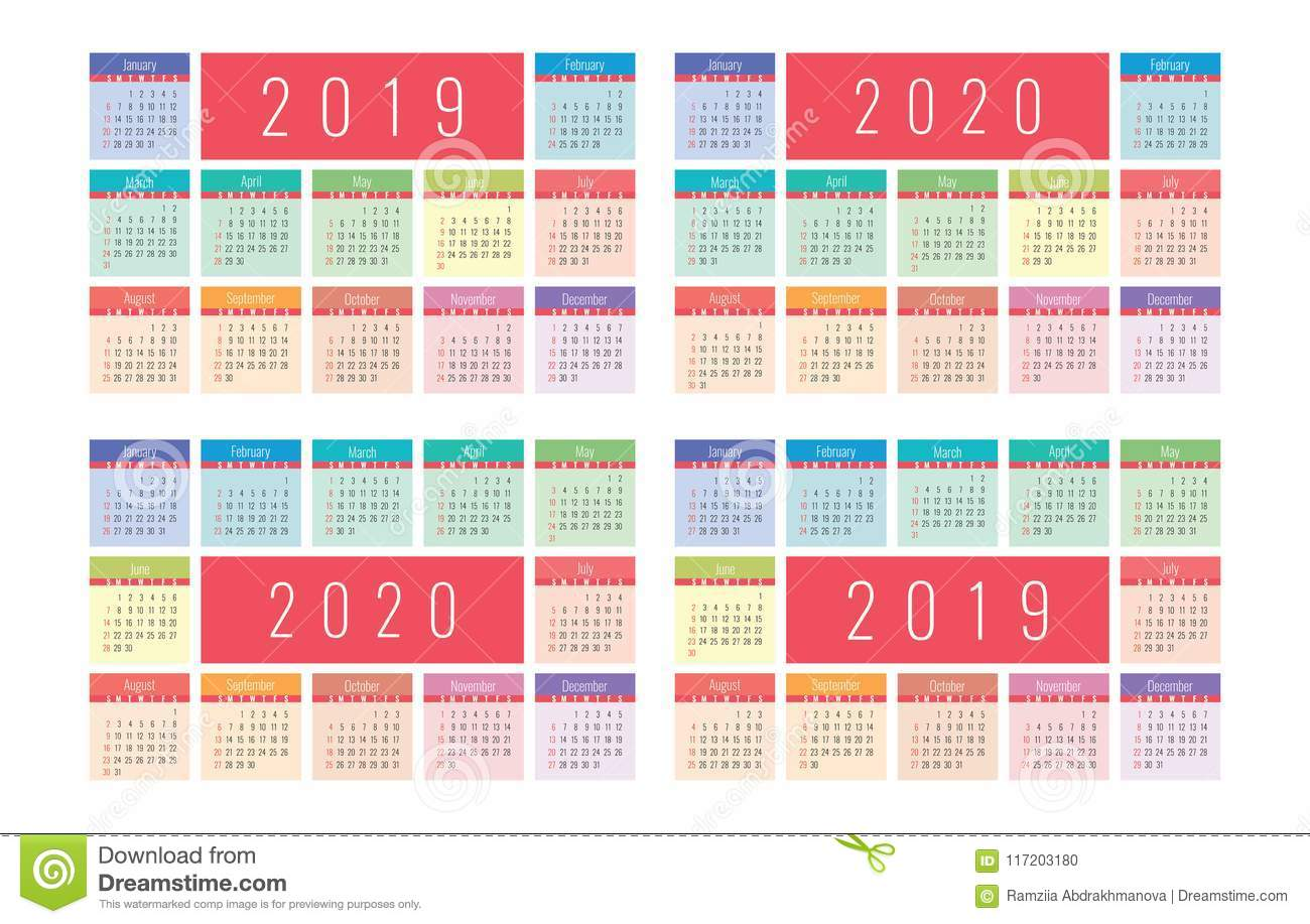 Calendario Ramadan 2020.Calendar 2019 And 2020 Vector Basic Grid Colorful Design Stock