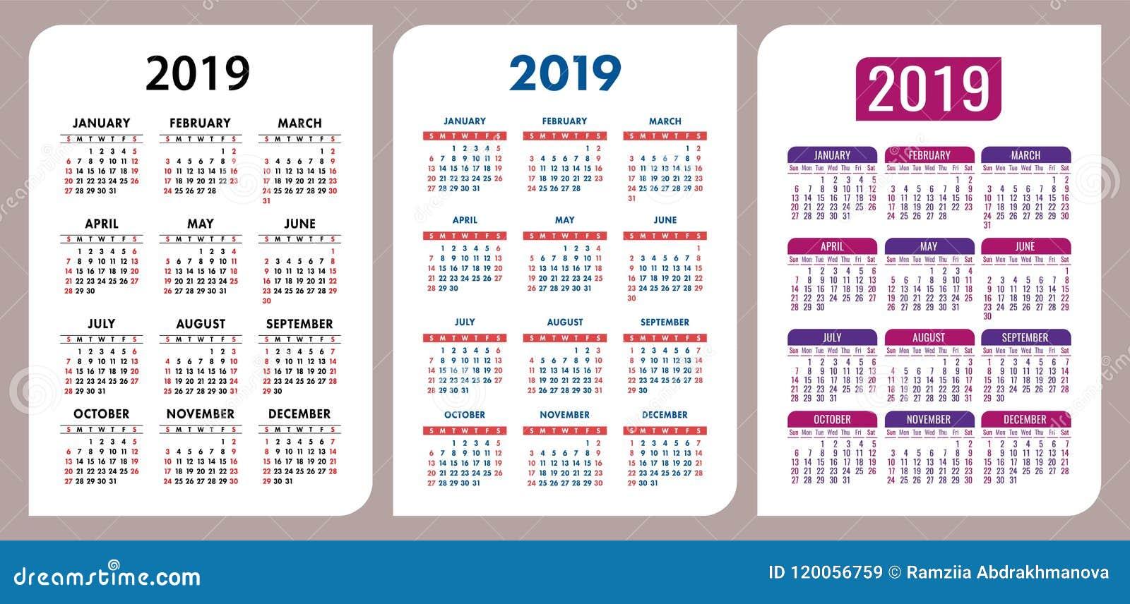 calendar 2019 vector basic grid set stylish design template gro