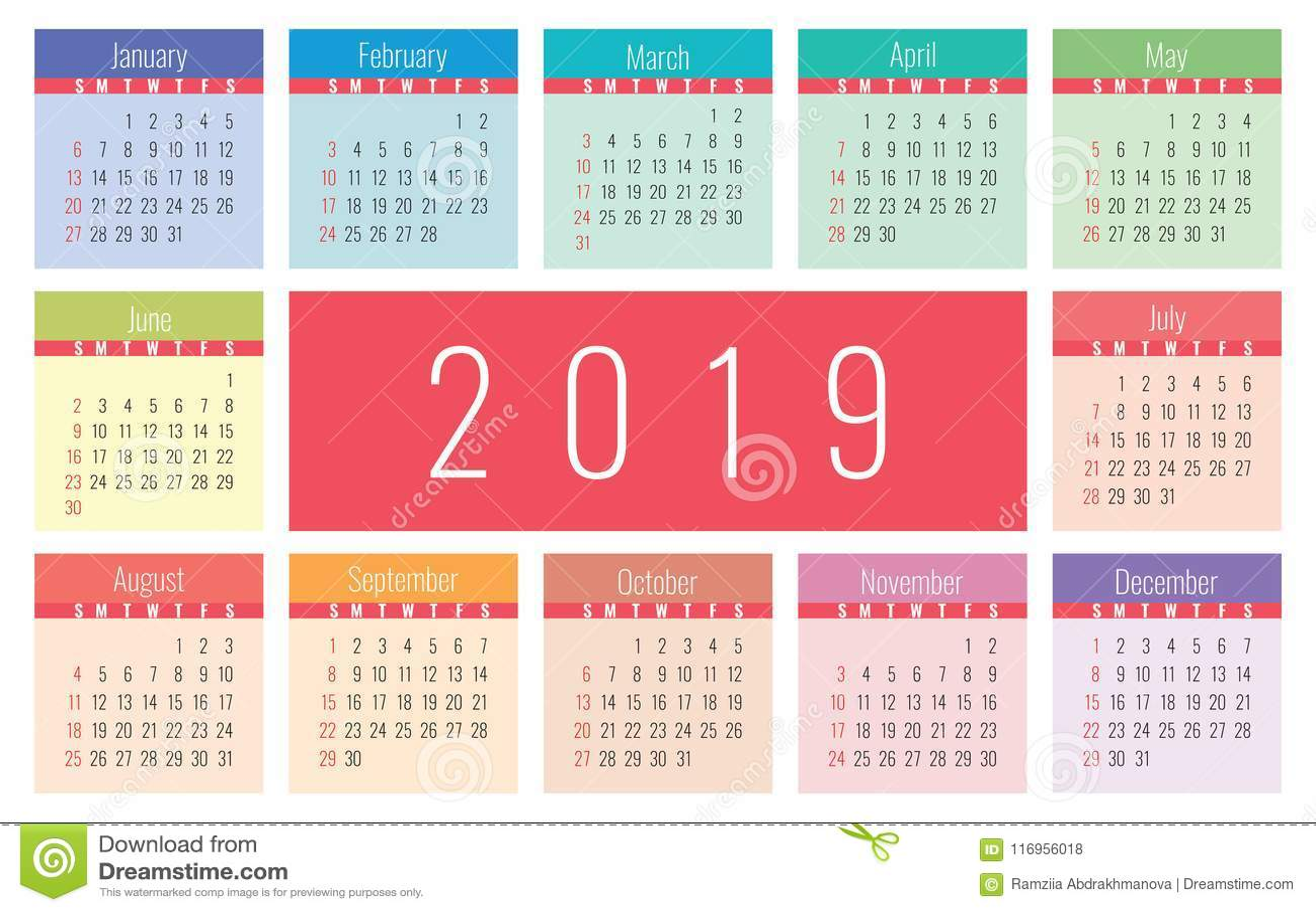 calendar 2019 vector basic grid simple design template stock