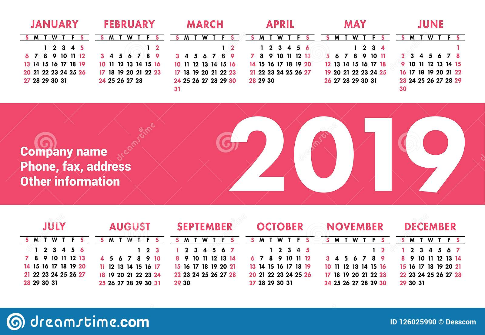 calendar 2019 vector basic grid simple design template english