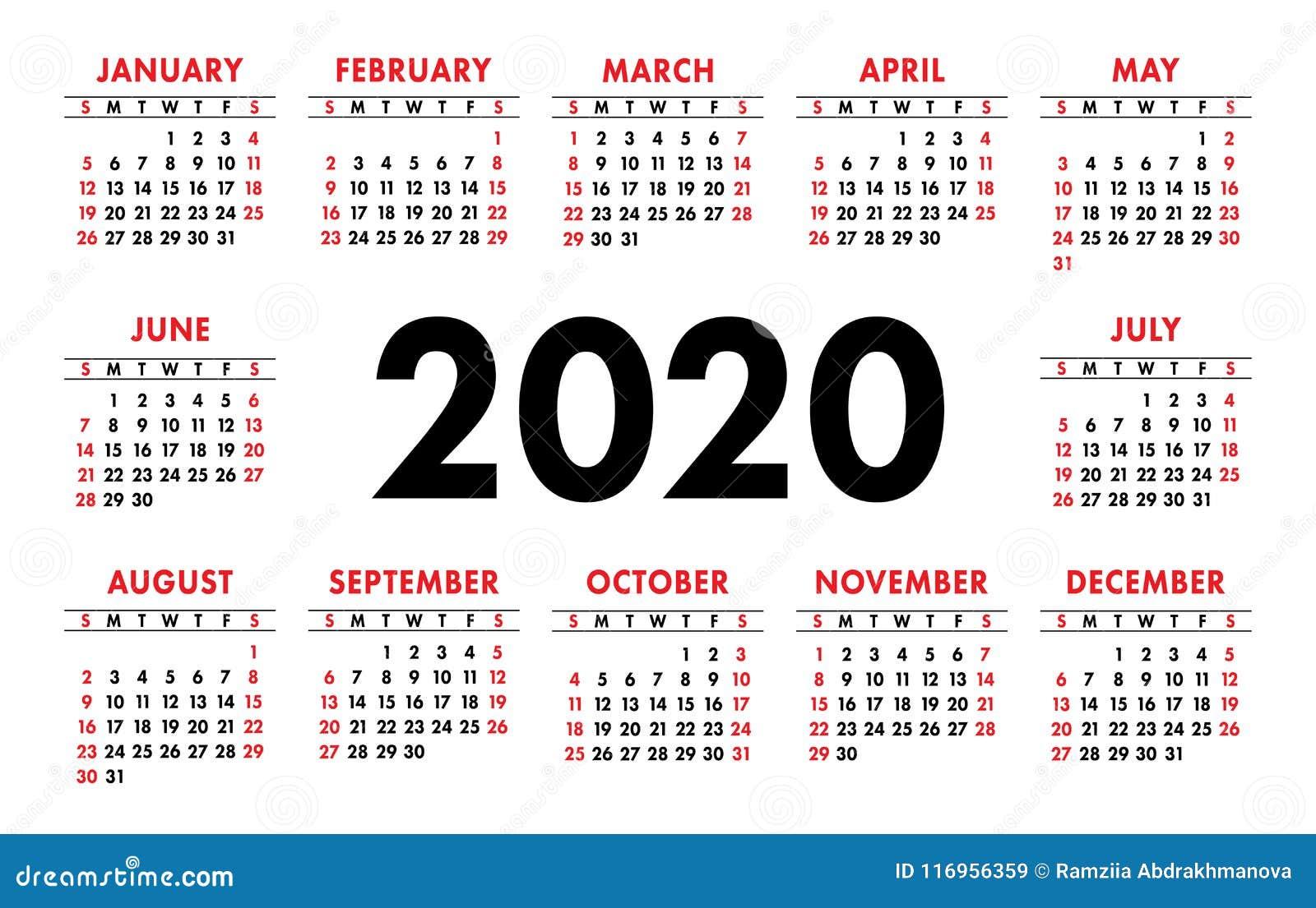 Layout Calendario 2020.Calendar 2020 Vector Basic Grid Simple Design Template
