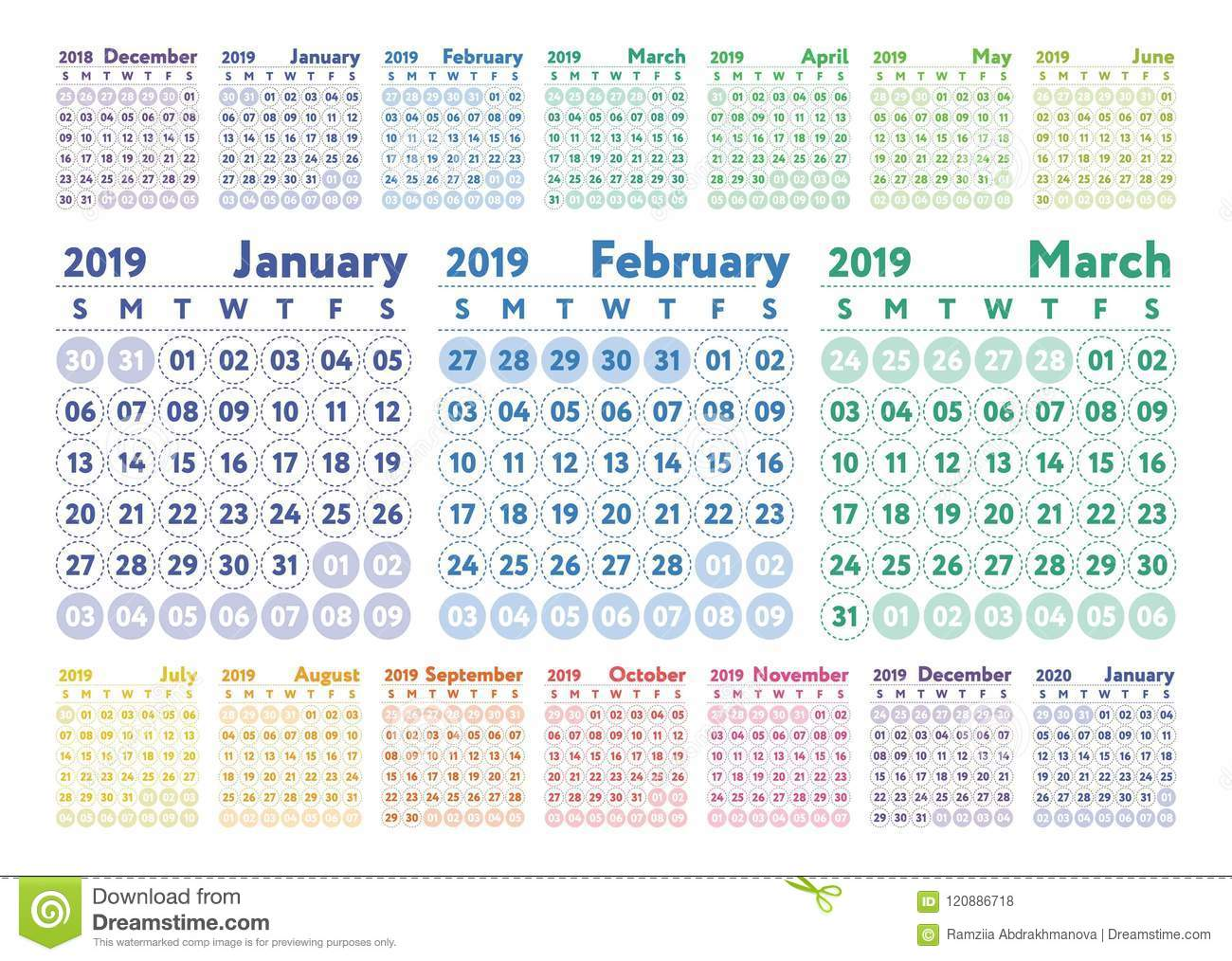 Calendar 2020 February And March.Calendar 2019 Vector Color English Stock Illustration