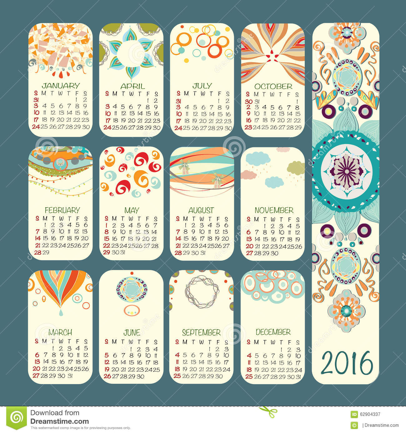Color Of The Month February 2016: Calendar 2016 Vector Design. Week Starts Sunday. Stock