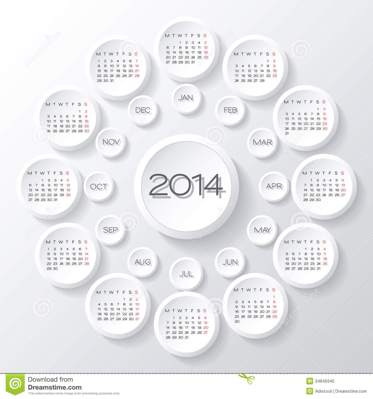 Calendar 2014 Vector Stock Vector Illustration Of Organizer 34849340