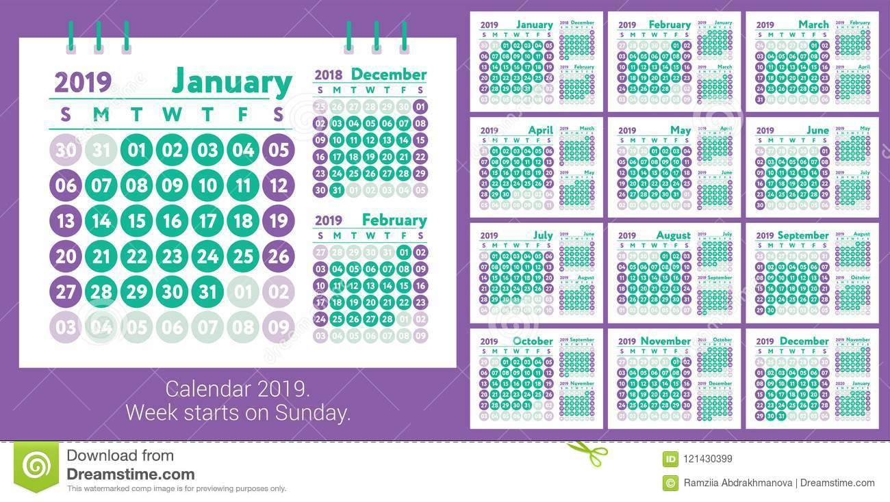 calendar 2019  vector english calender  january  february