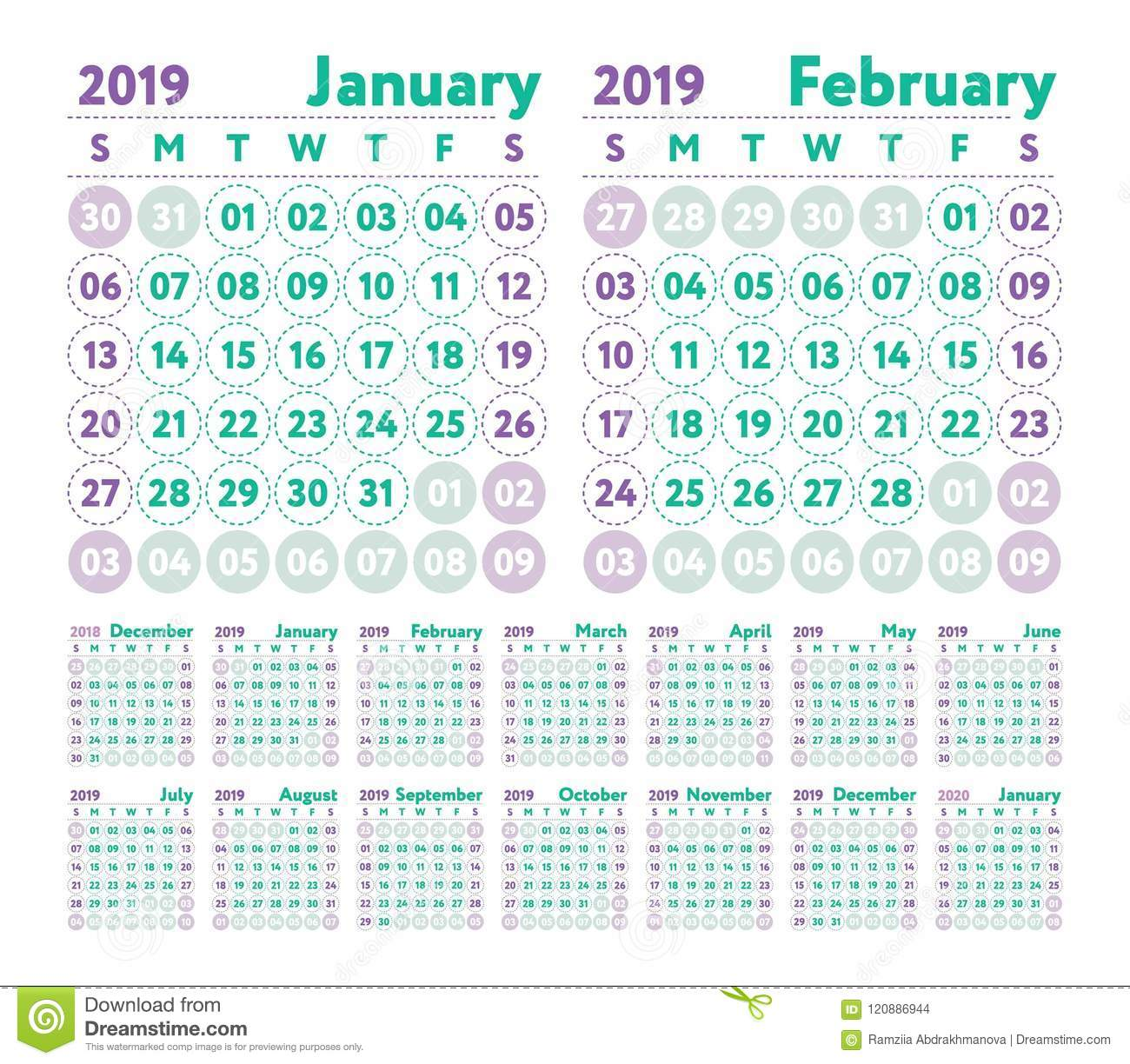Calendar 2019 Vector English Calender January February March