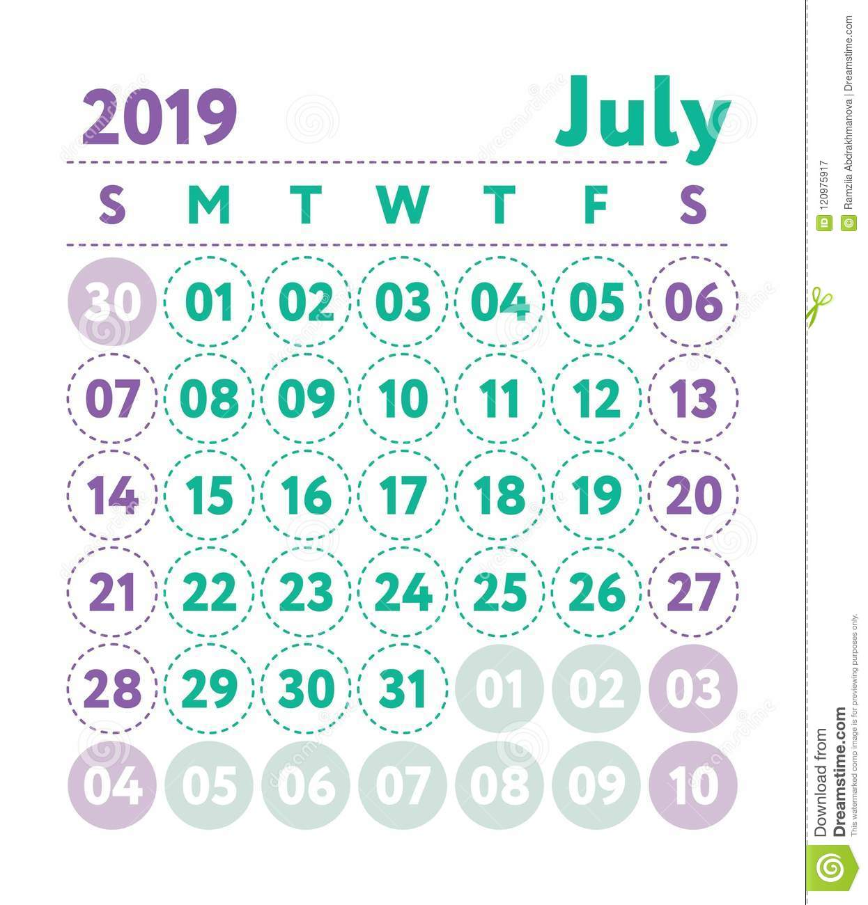 Calendario Julio 2019 Vector.Calendar 2019 Vector English Calender July Month Week